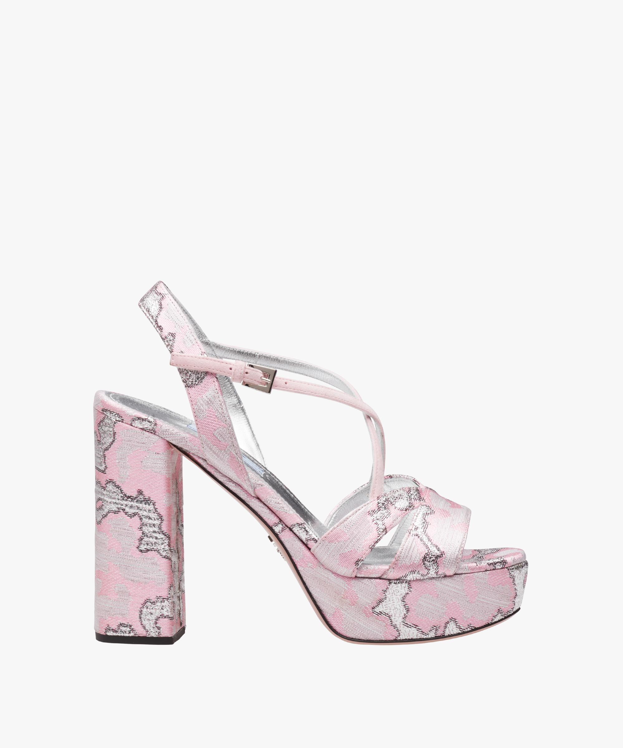 99a213c94d5 Lyst - Prada Lurex Jacquard Platform Sandals in Pink