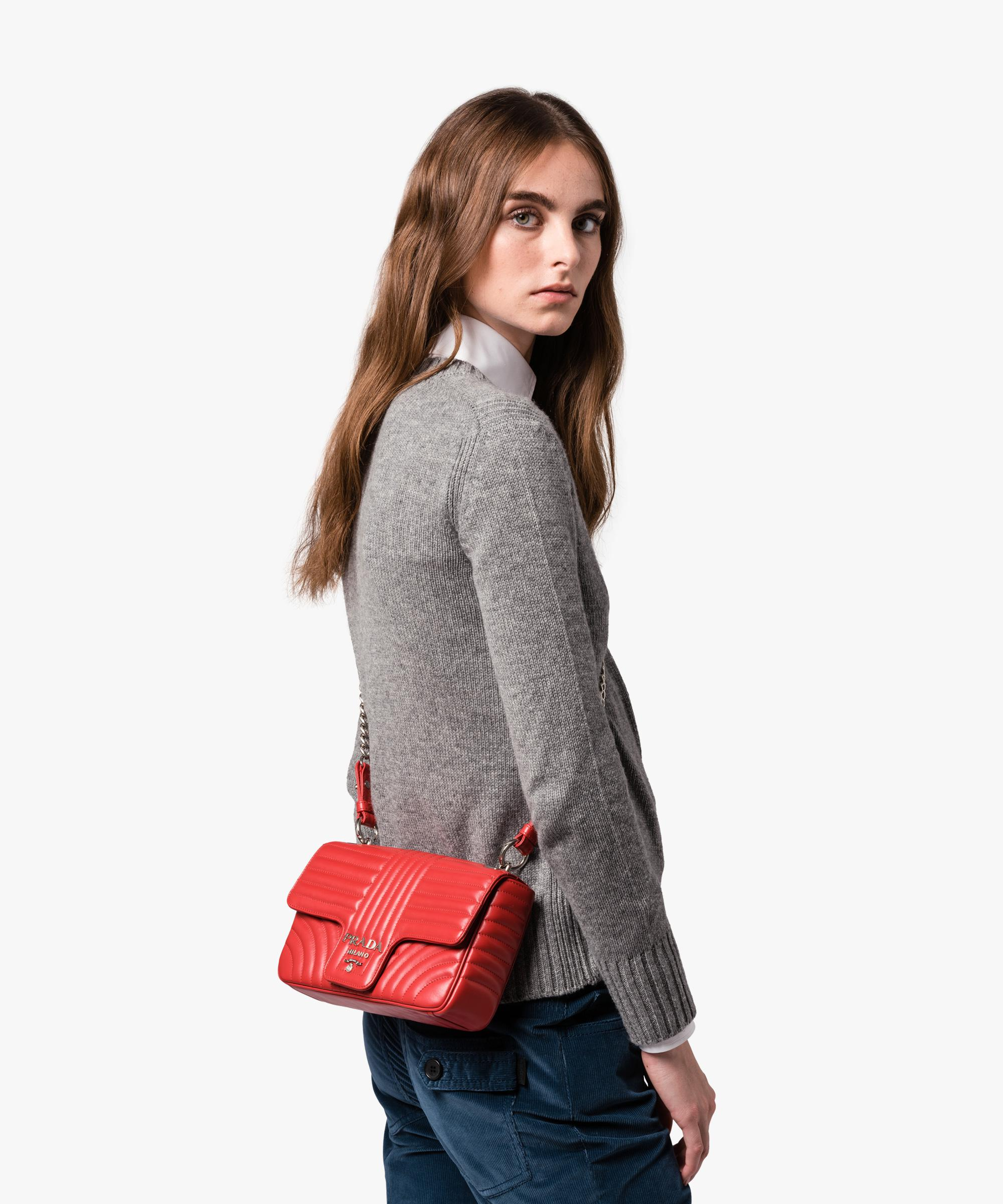074ad00693f6 Prada Diagramme Leather Shoulder Bag in Red - Lyst