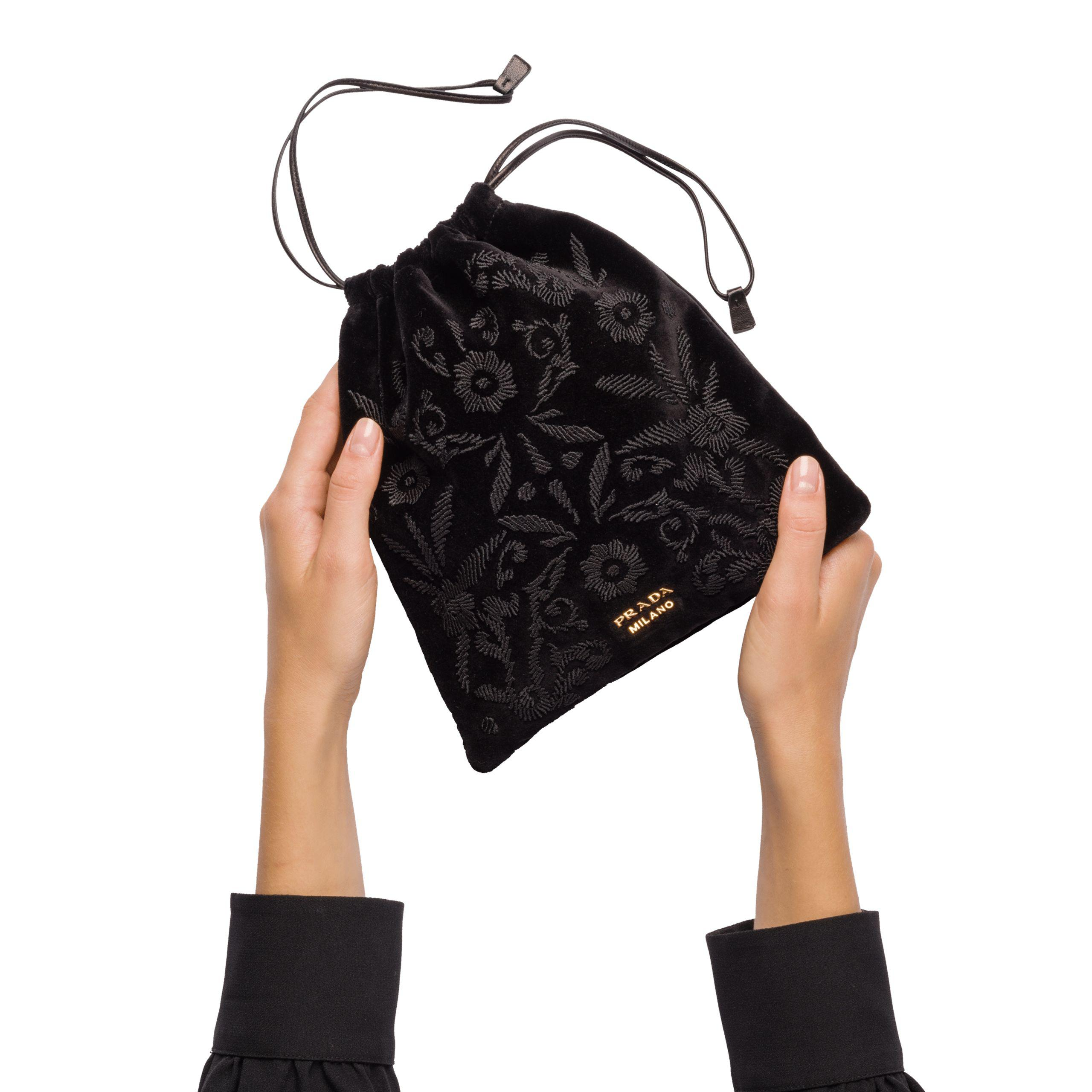 c5454c587c6f Lyst - Prada Embroidered Velvet Pouch in Black