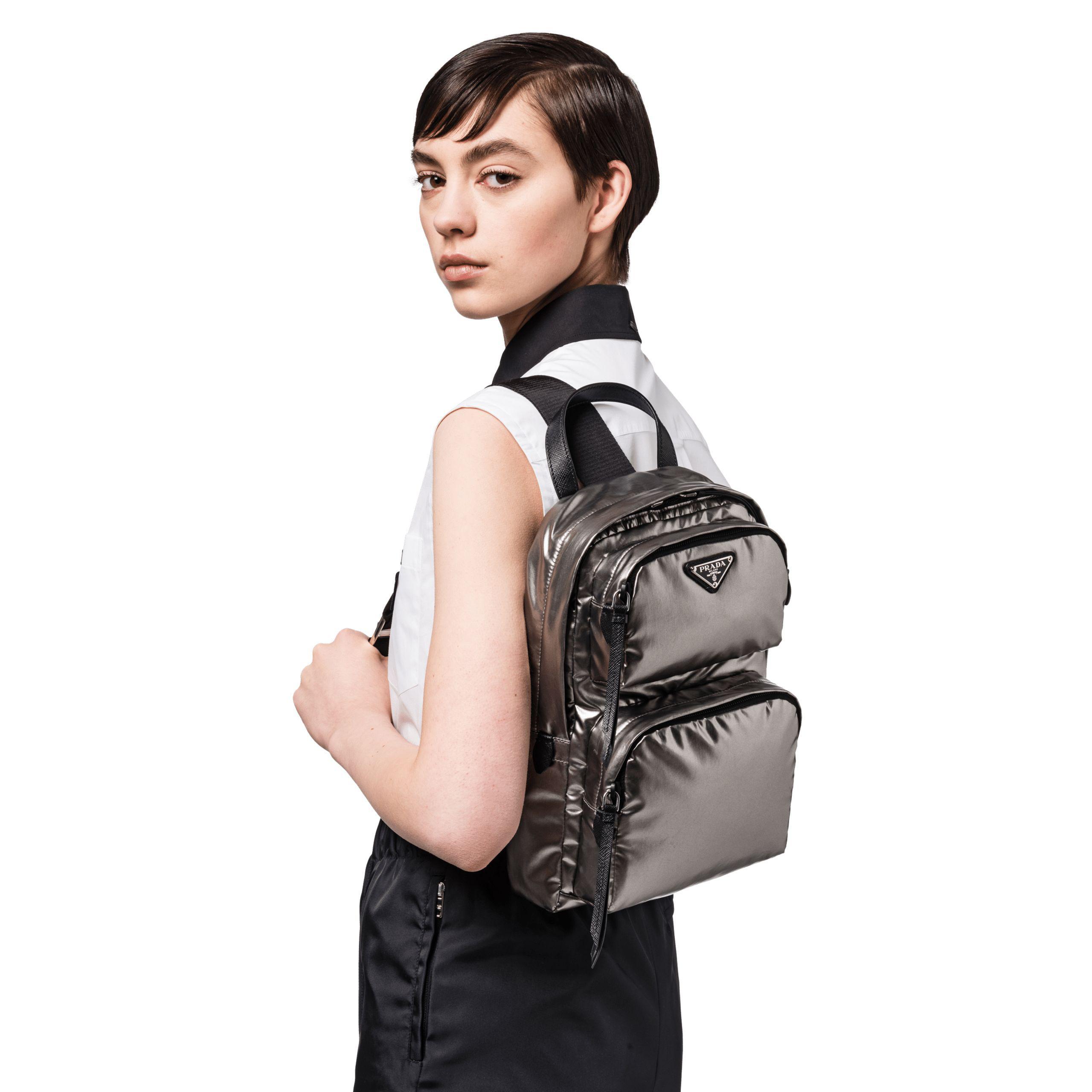 57963b9dd49c Prada One-shoulder Laminated Fabric Backpack in Black - Lyst