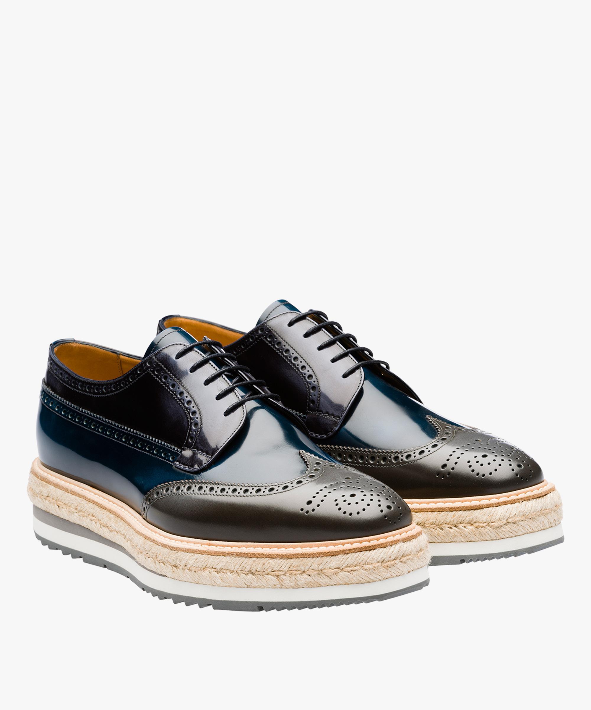 cff67f6ffe Lyst - Prada Leather Platform Derby Shoes in Blue for Men