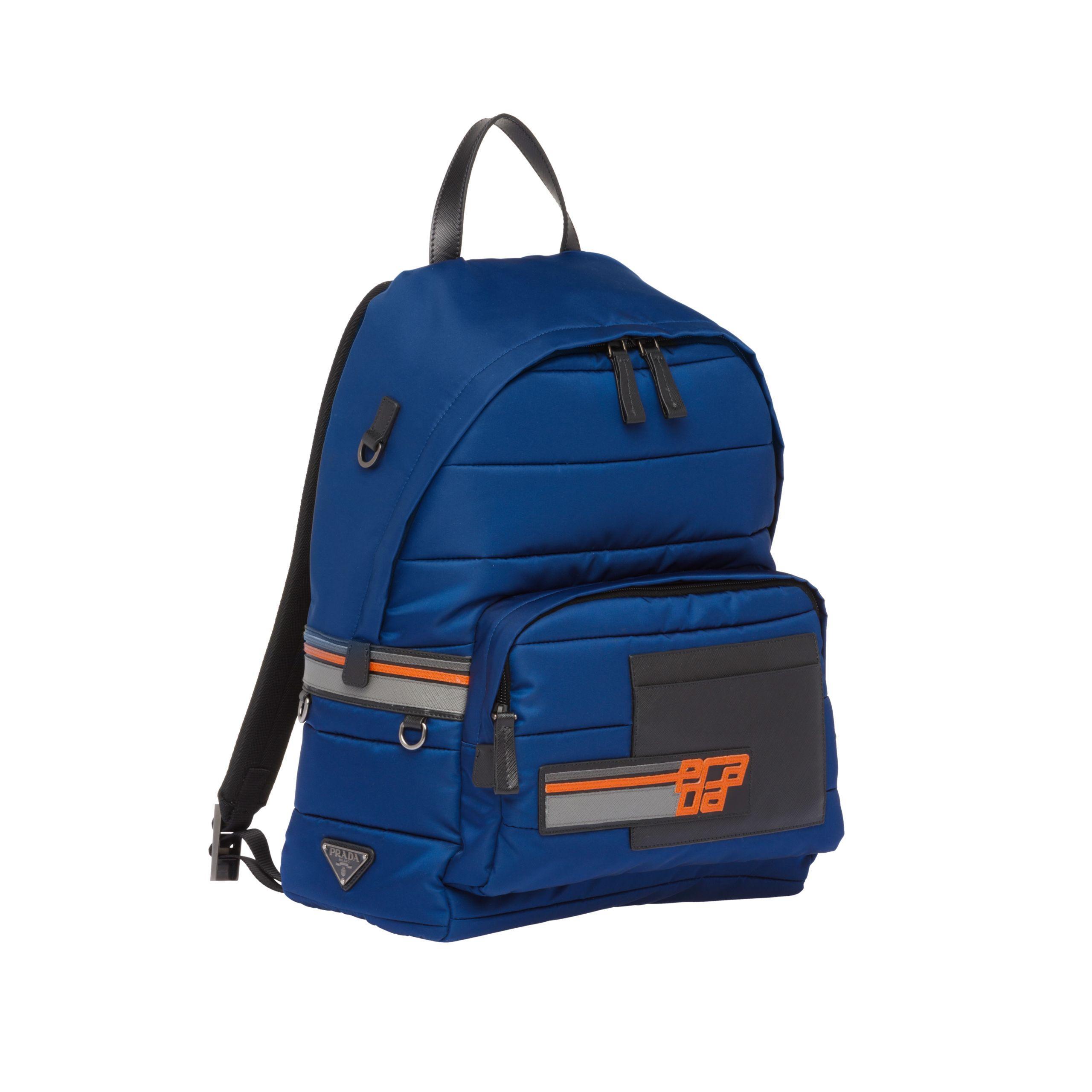 8e20e258f789c8 Prada - Blue Nylon And Saffiano Leather Backpack for Men - Lyst. View  fullscreen