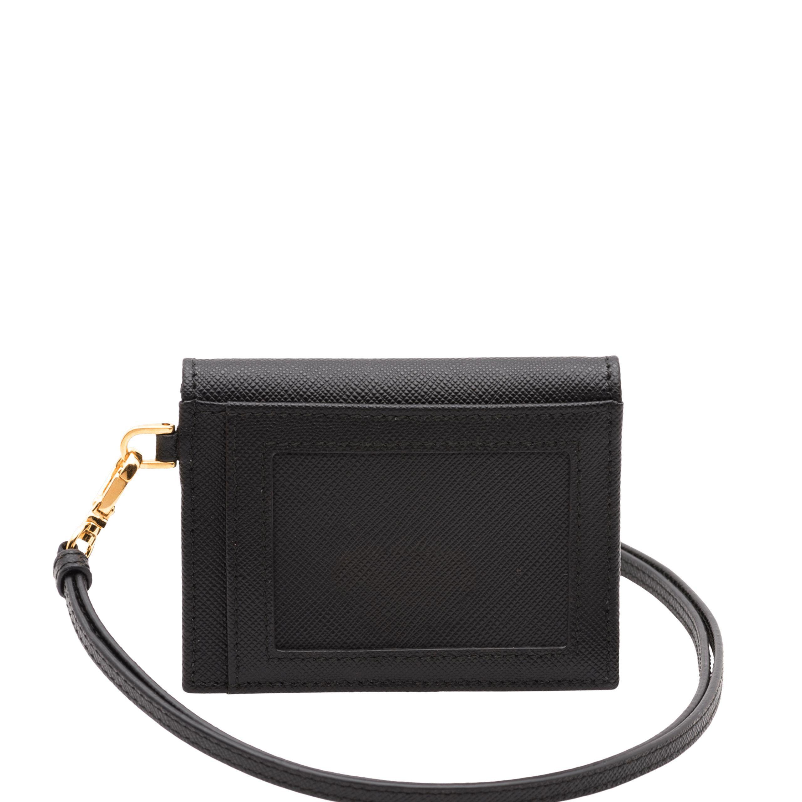 a9327525d78938 Prada - Black Leather Badge Holder - Lyst. View fullscreen