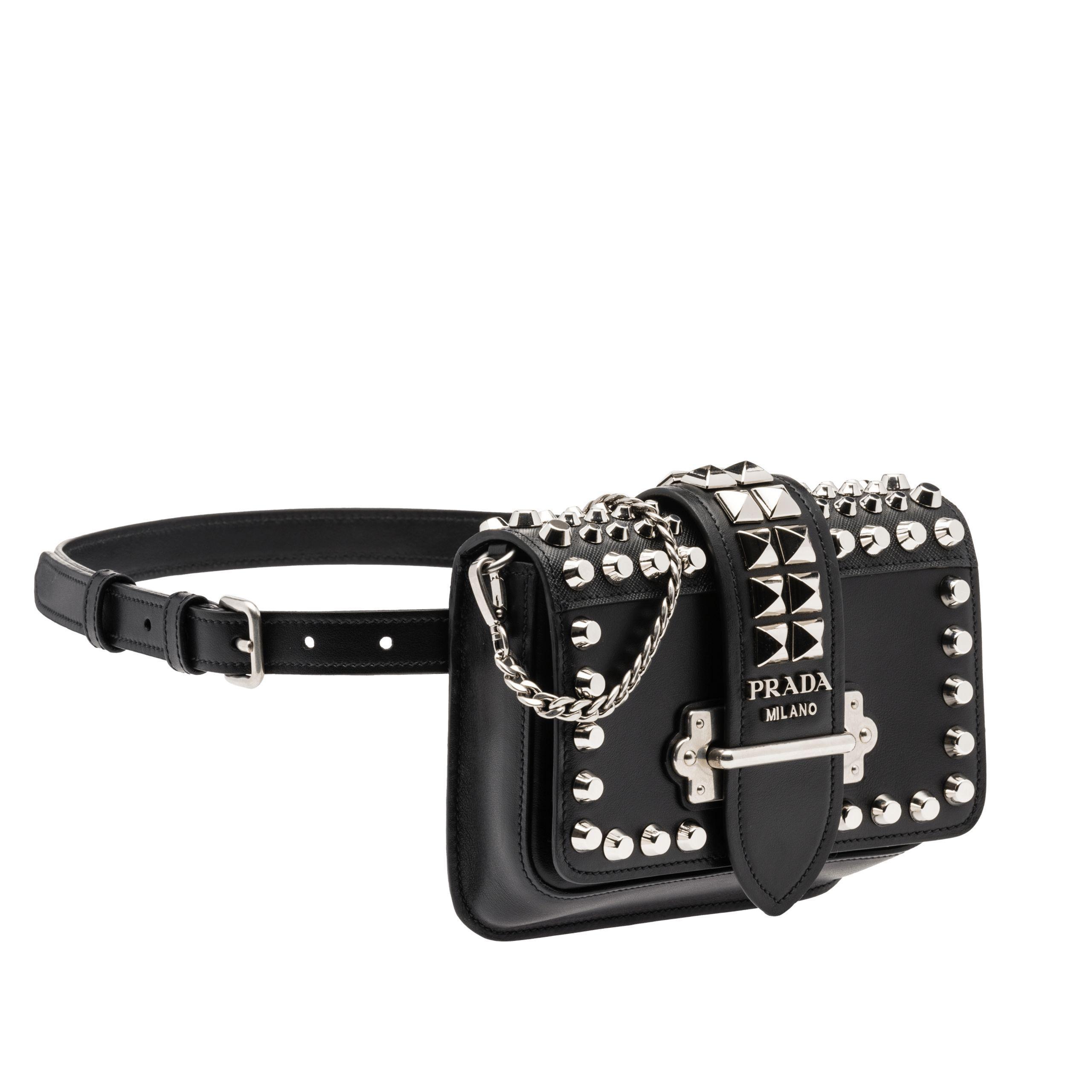 Lyst - Prada Cahier Leather Belt Bag in Black 81299bff1ac72