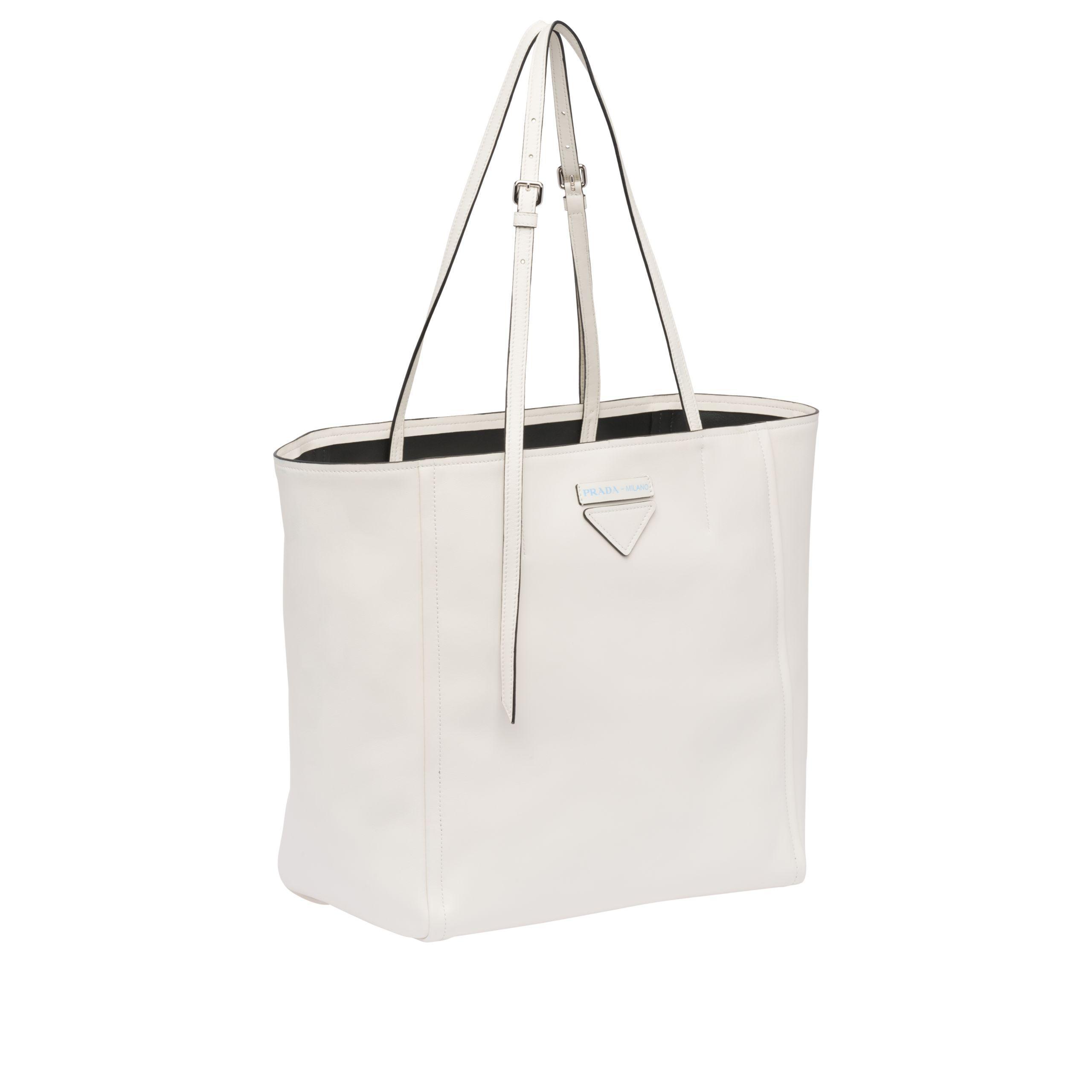 5882774fe6f0af Prada Concept Medium Leather Tote in White - Lyst