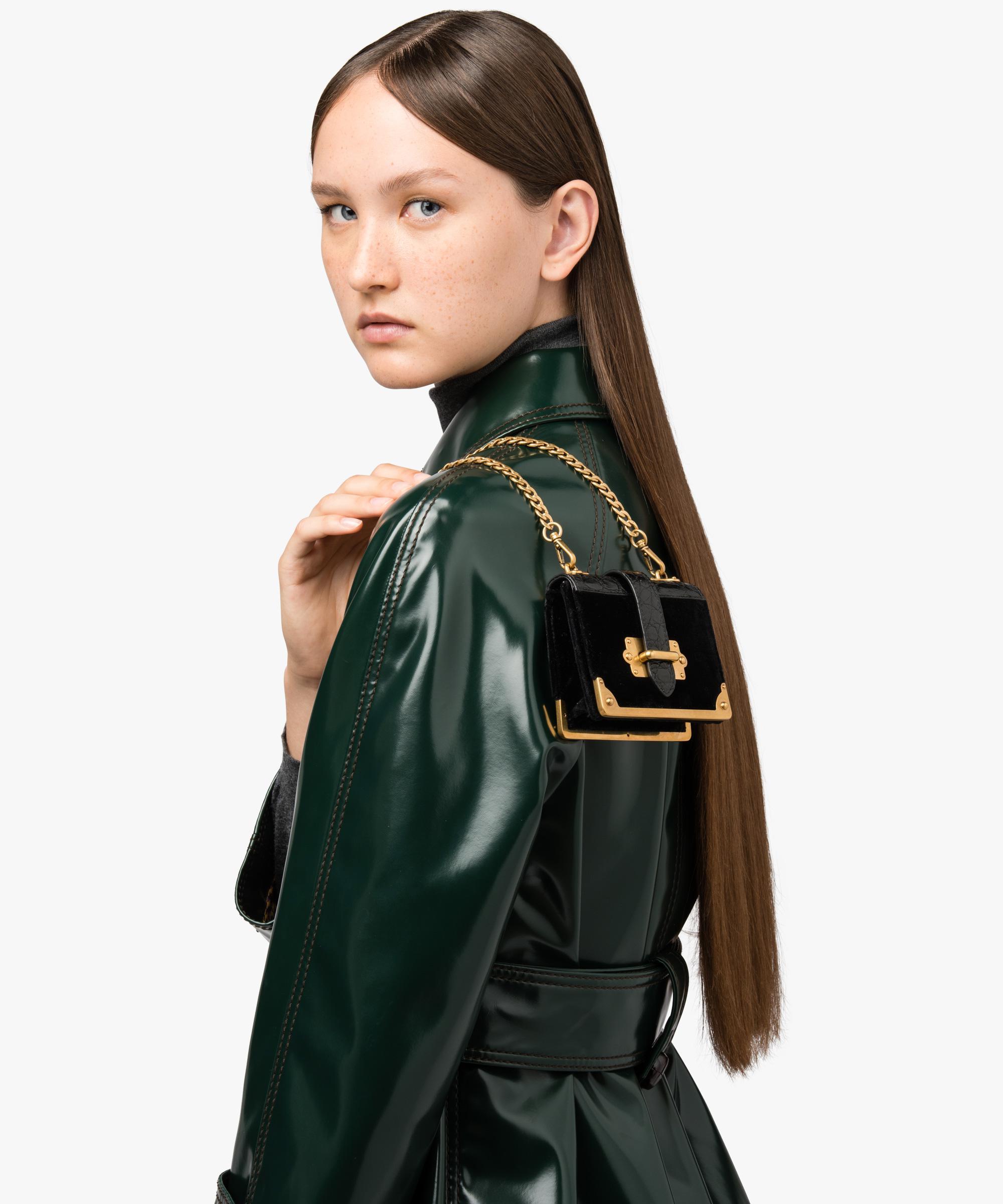 042c42f91902 Lyst - Prada Micro Cahier Bag in Black