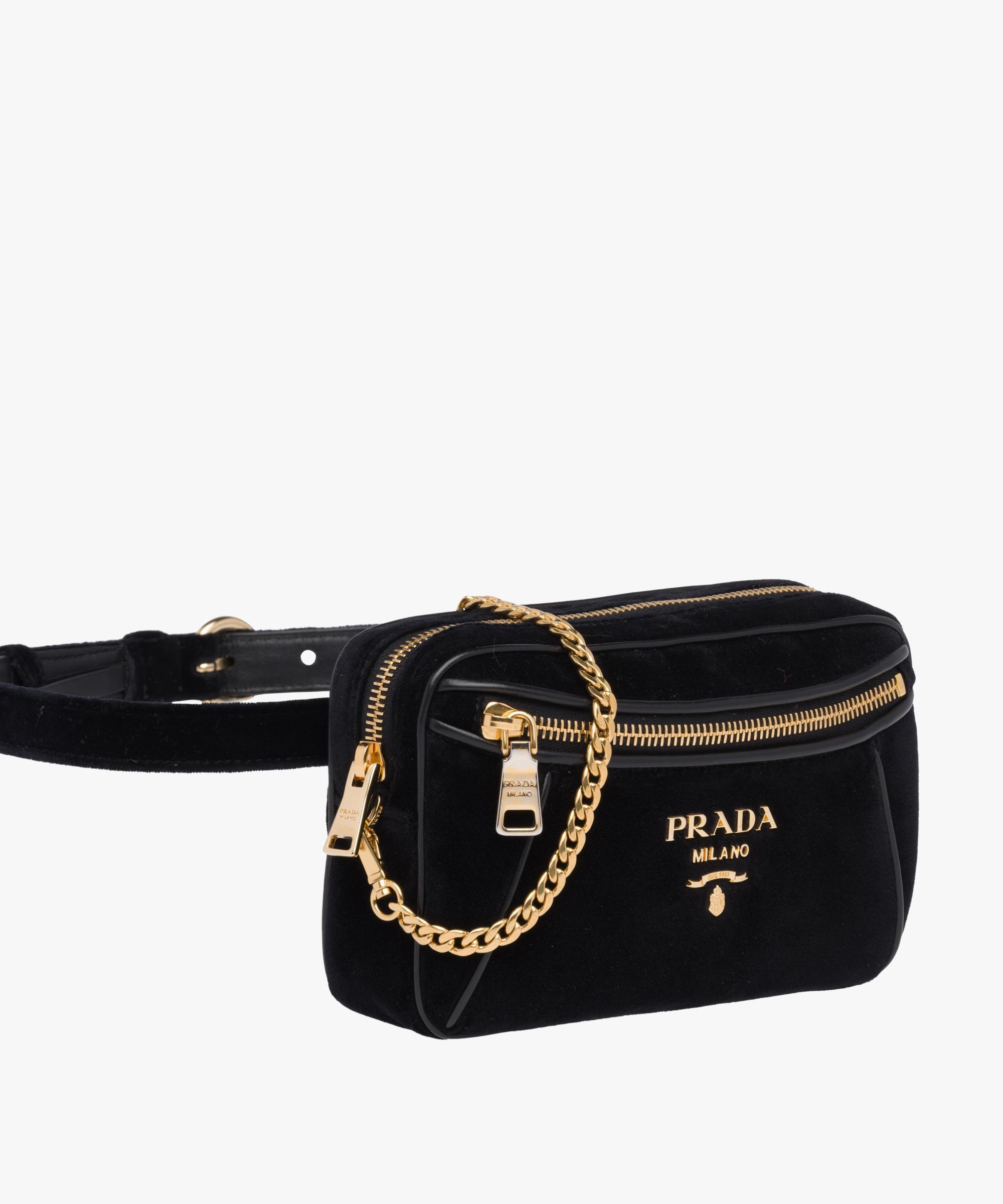 e7bd837f2 Prada Velvet And Leather Belt Bag in Black - Lyst