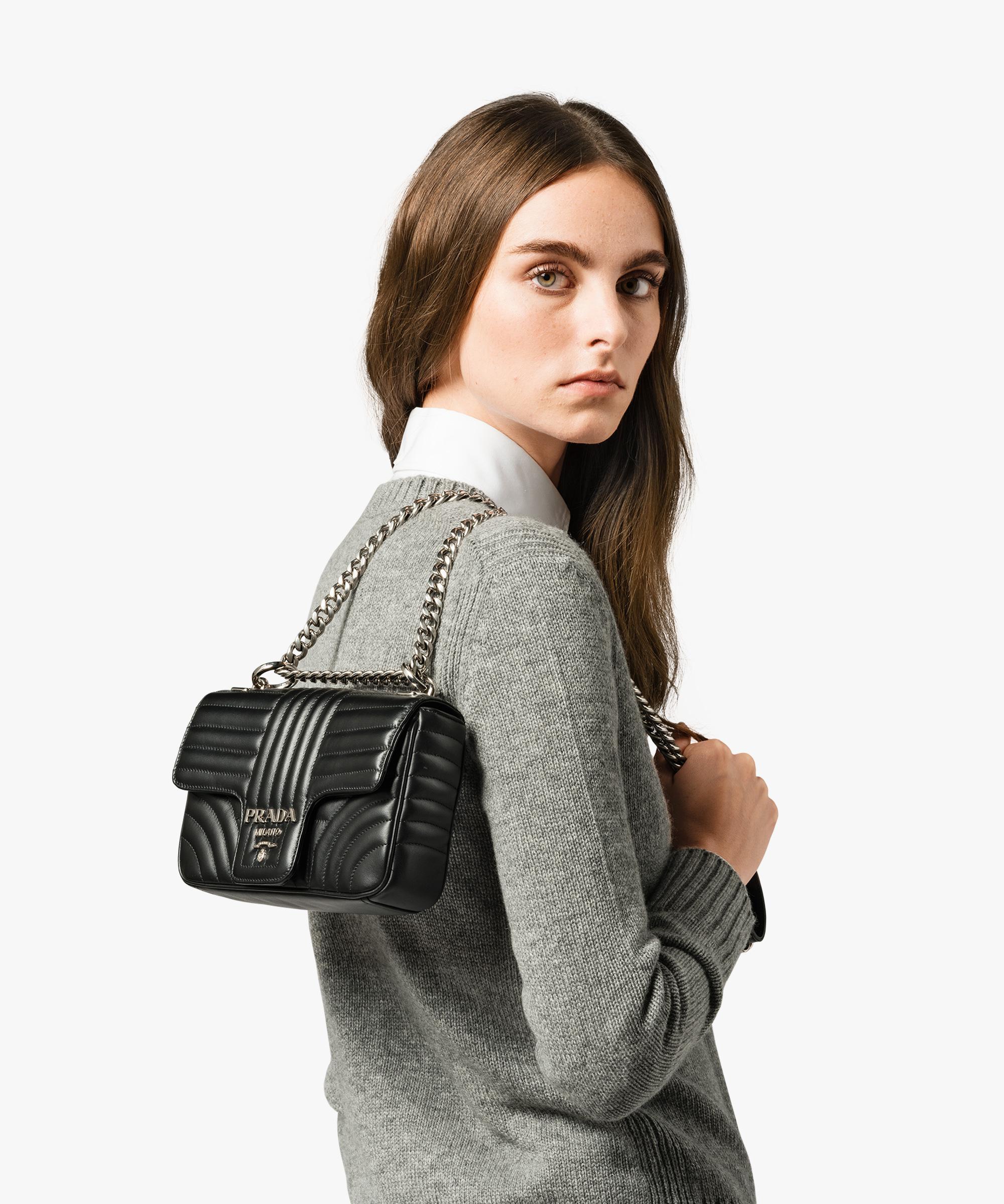 0e8df138c9f4 Lyst - Prada Diagramme Leather Shoulder Bag in Black