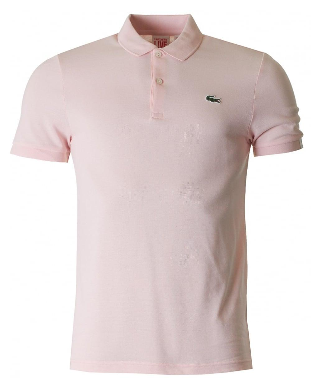 lacoste l ive short sleeved slim fit polo in pink for men. Black Bedroom Furniture Sets. Home Design Ideas
