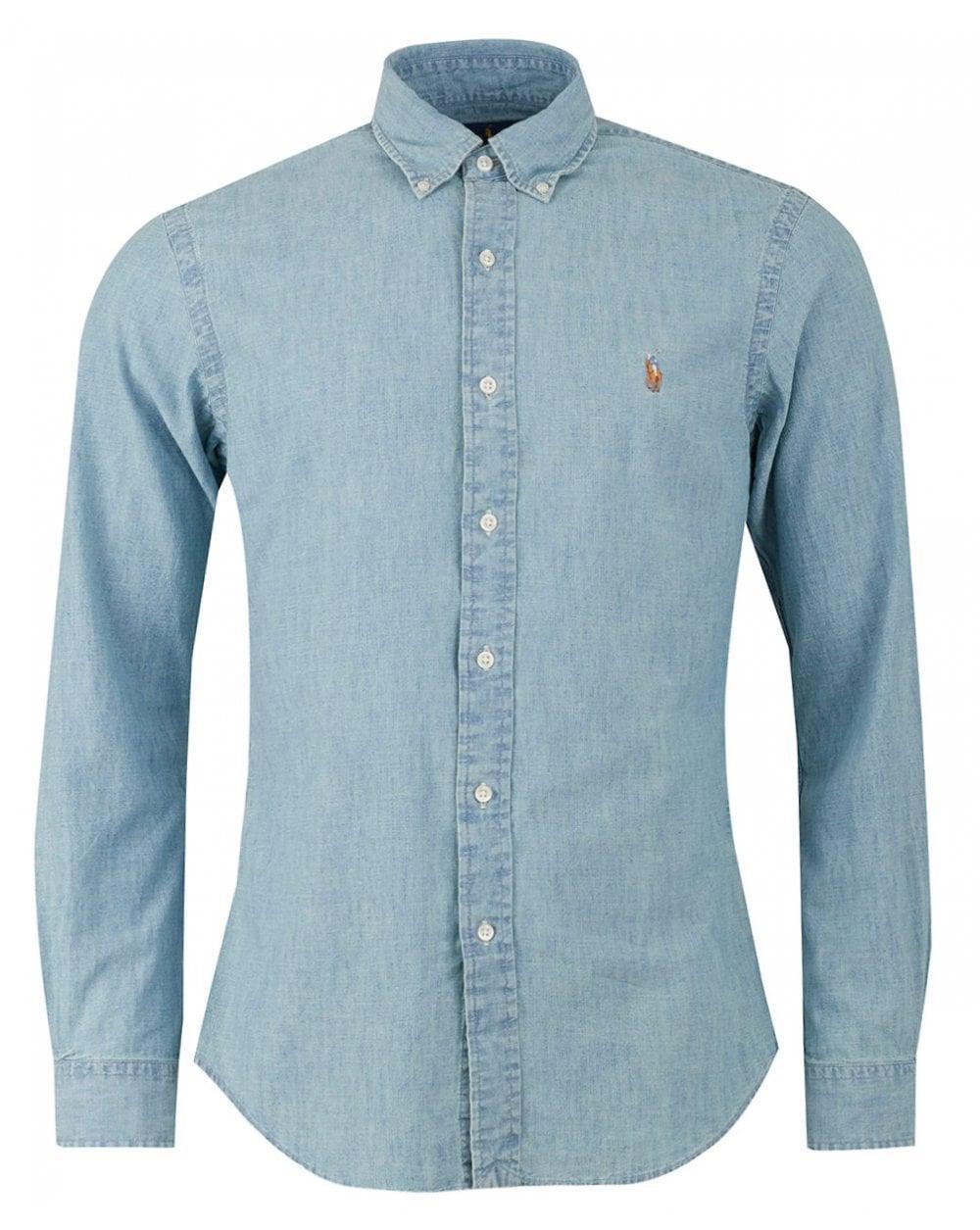 e3471c80c8ca Polo Ralph Lauren Slim Fit Light Chambray Shirt in Blue for Men ...