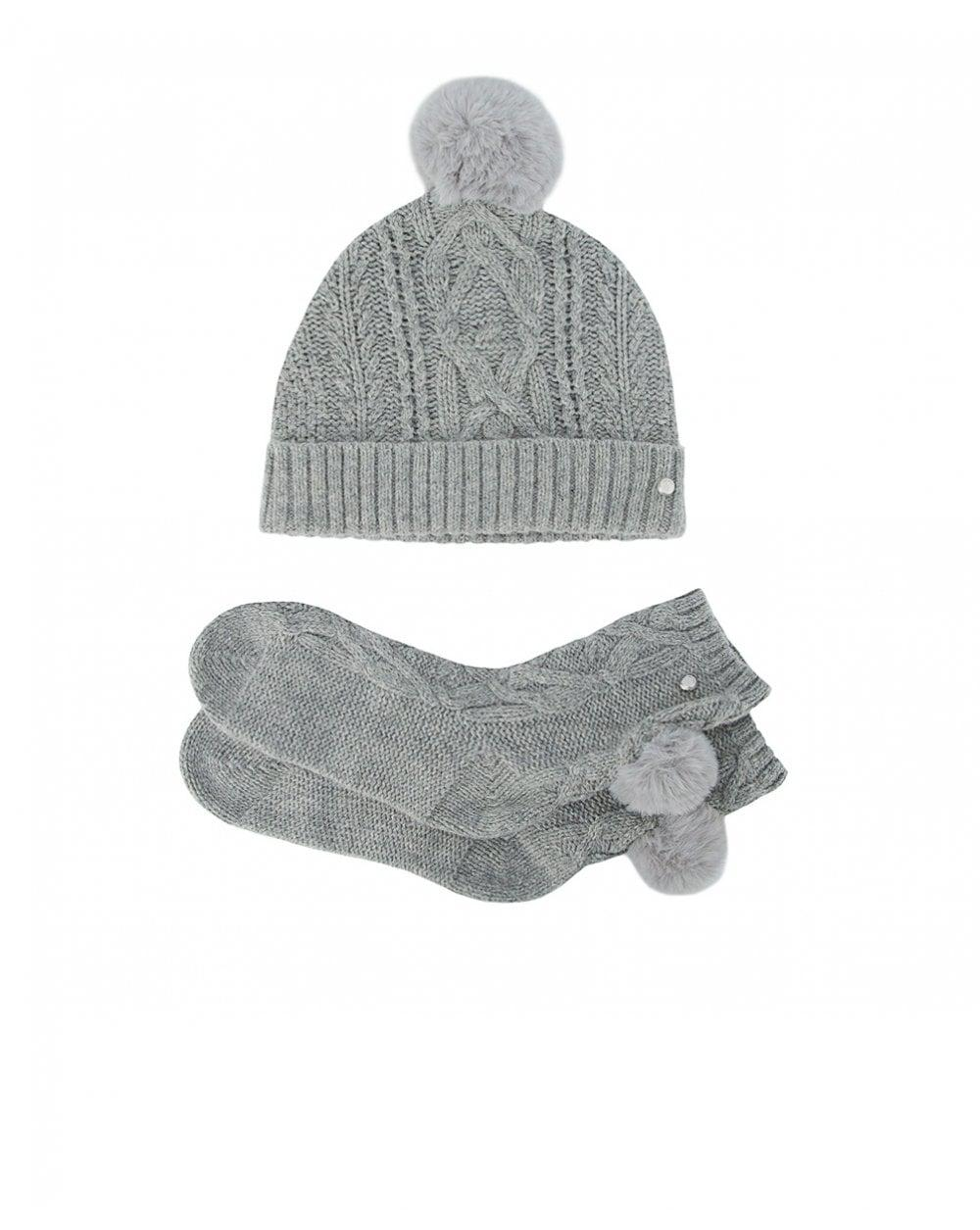 Ted Baker Raisa Knitted Pom Pom Hat And Sock Set in Gray - Lyst c3d728501a83