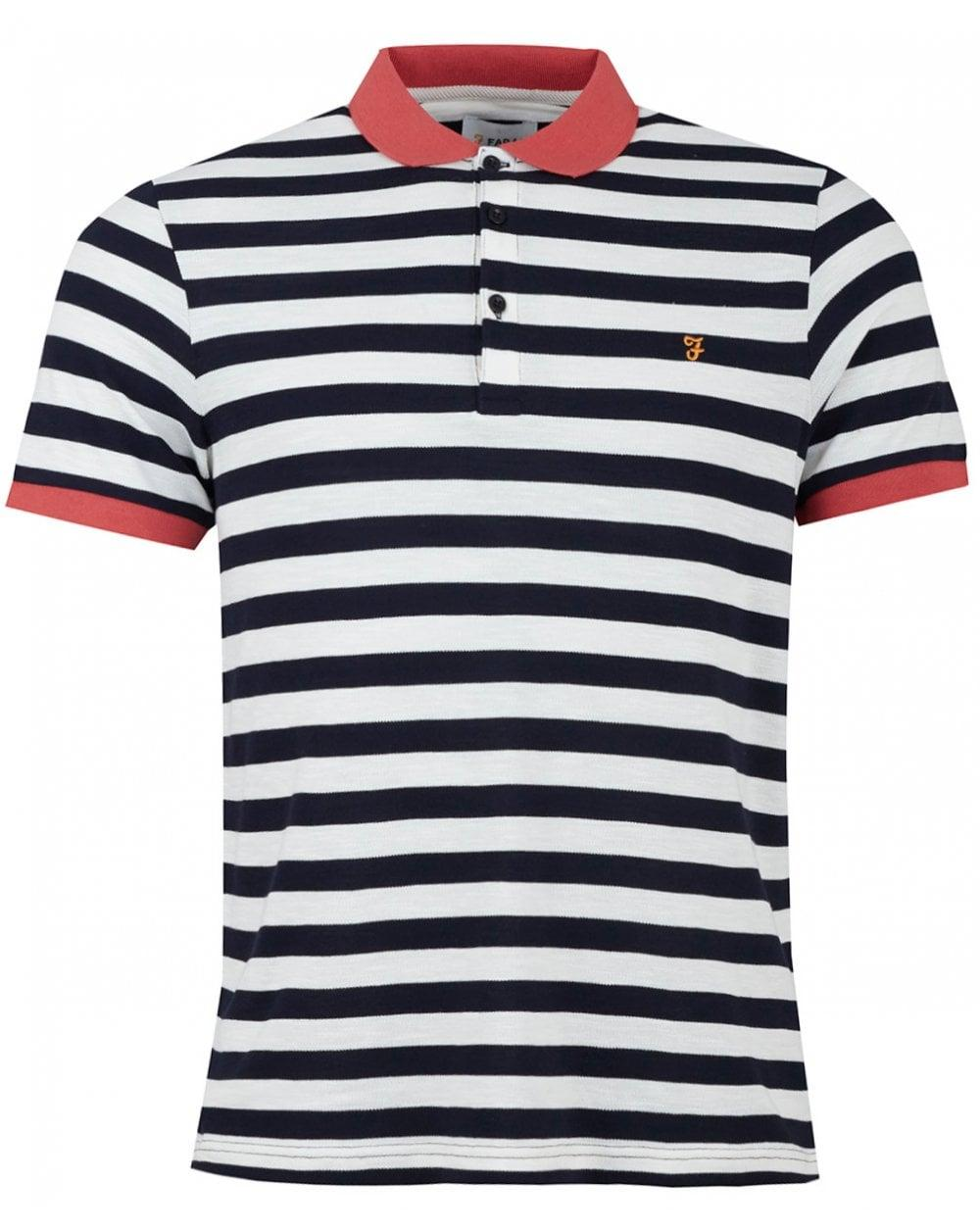 5d86a19be3 Farah Witton Short Sleeved Striped Polo Shirt in Blue for Men - Lyst