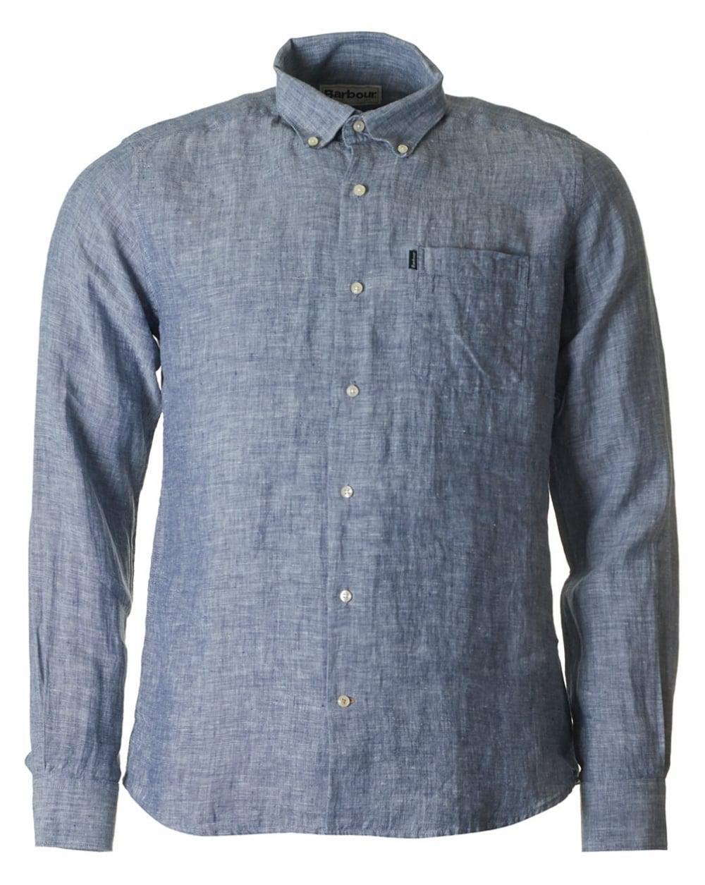 6848718af7b Lyst - Barbour Frank Linen Tailored Fit Shirt in Blue for Men