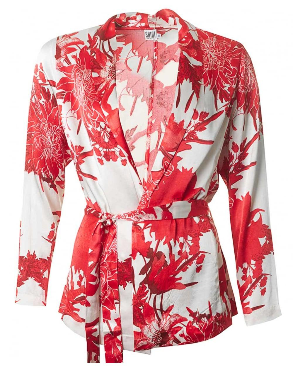 Lyst - Saint Tropez Flower Print Kimono Shirt in Red
