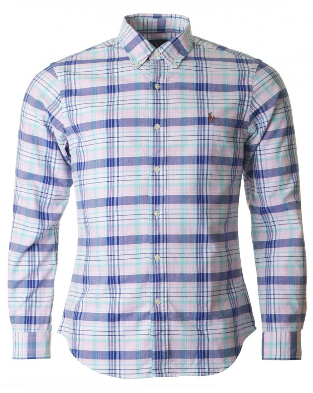 15b3b413 Polo Ralph Lauren. Men's Blue Long Sleeved Slim Fit Multi Check Shirt