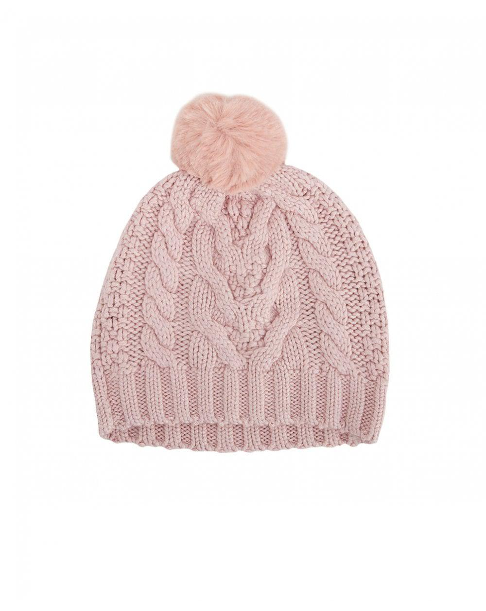 d890fc41d83 Lyst - Ted Baker Cable Knit Pom Pom Hat in Pink