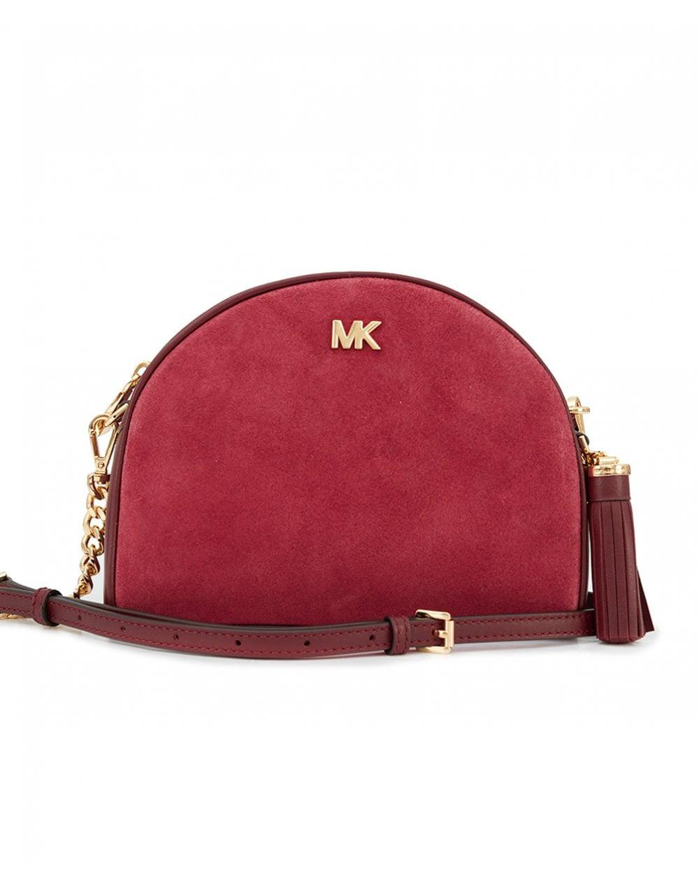 231145fd4e Michael Kors Medium Half Moon Suede Bag in Red - Lyst