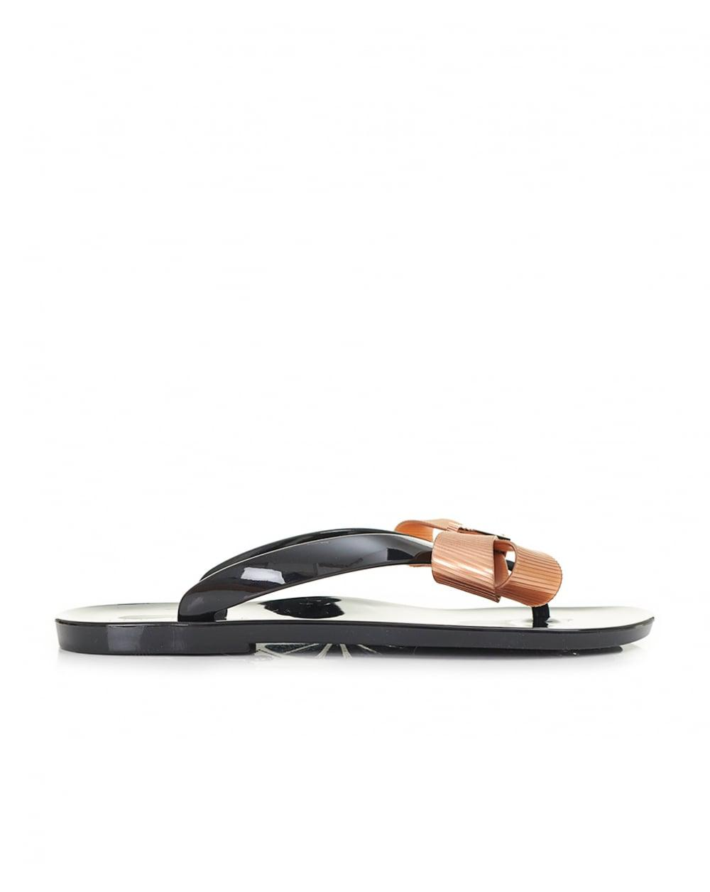 92a6b52fd Ted Baker Bow Front Jelly Flip Flops in Black - Lyst