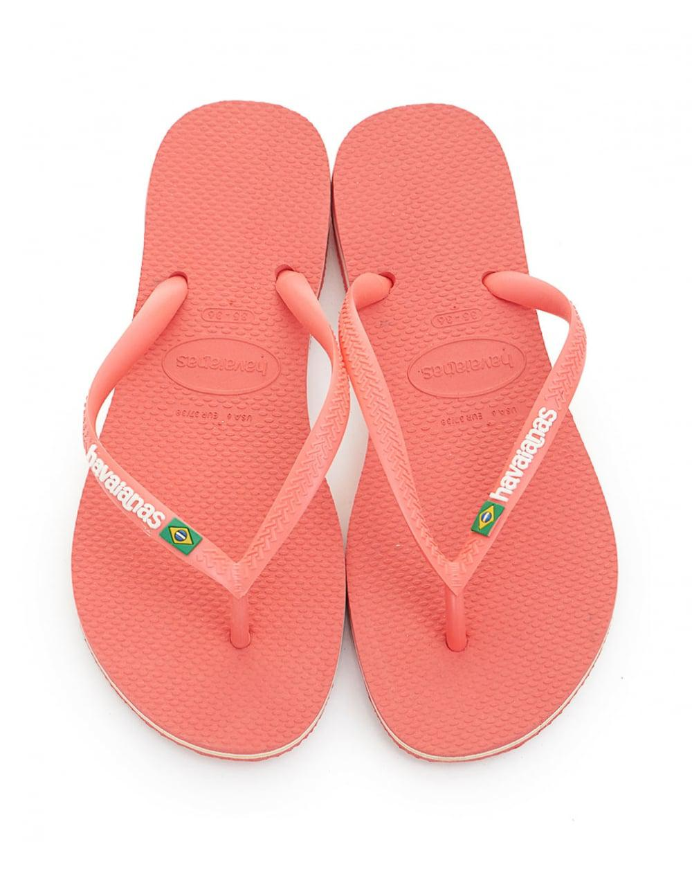 fb3895e1123fd3 Lyst - Havaianas Slim Brasil Logo Flip Flops in Pink