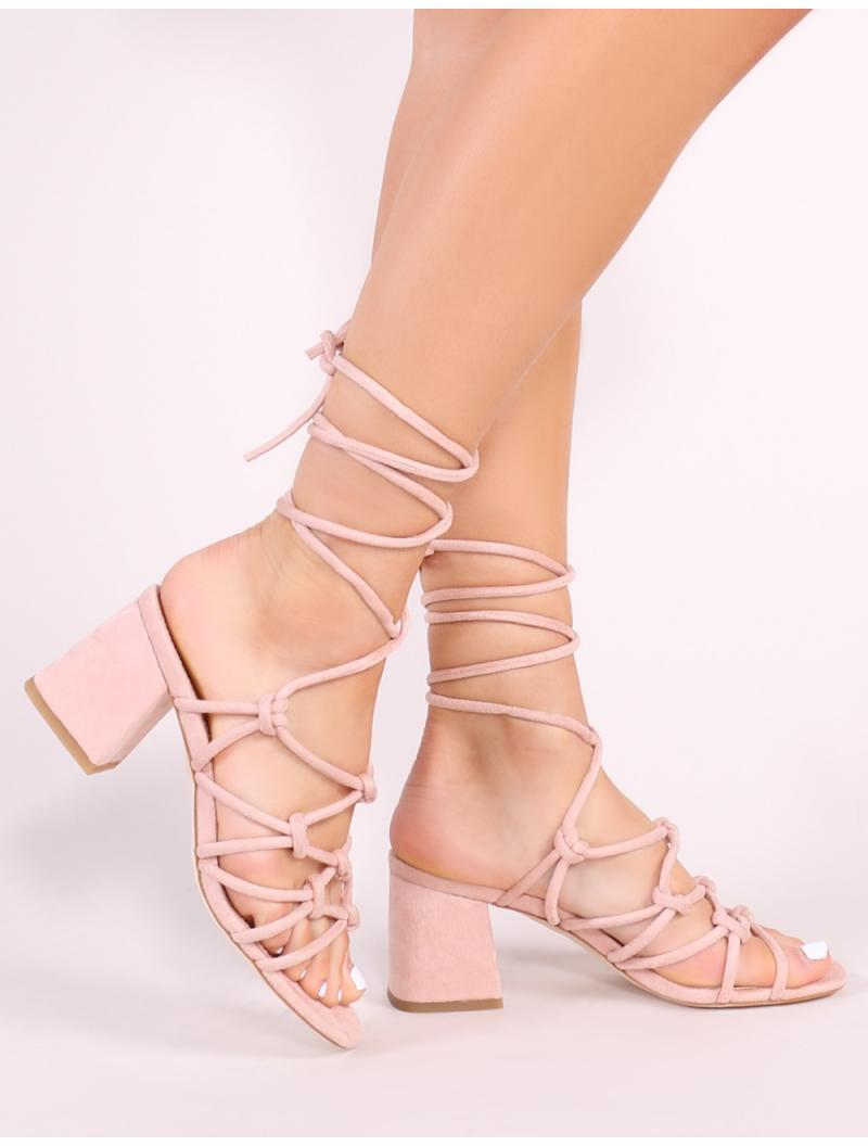 882a54d4484 Public Desire. Women s Blue Freya Knotted Strappy Block Heeled Sandals ...