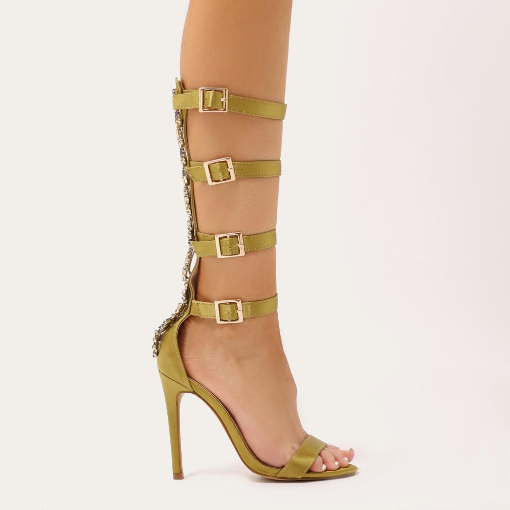 Public Desire Jazz Knee High Strappy Embellished Heels in Lime Satin MrDOhDqo
