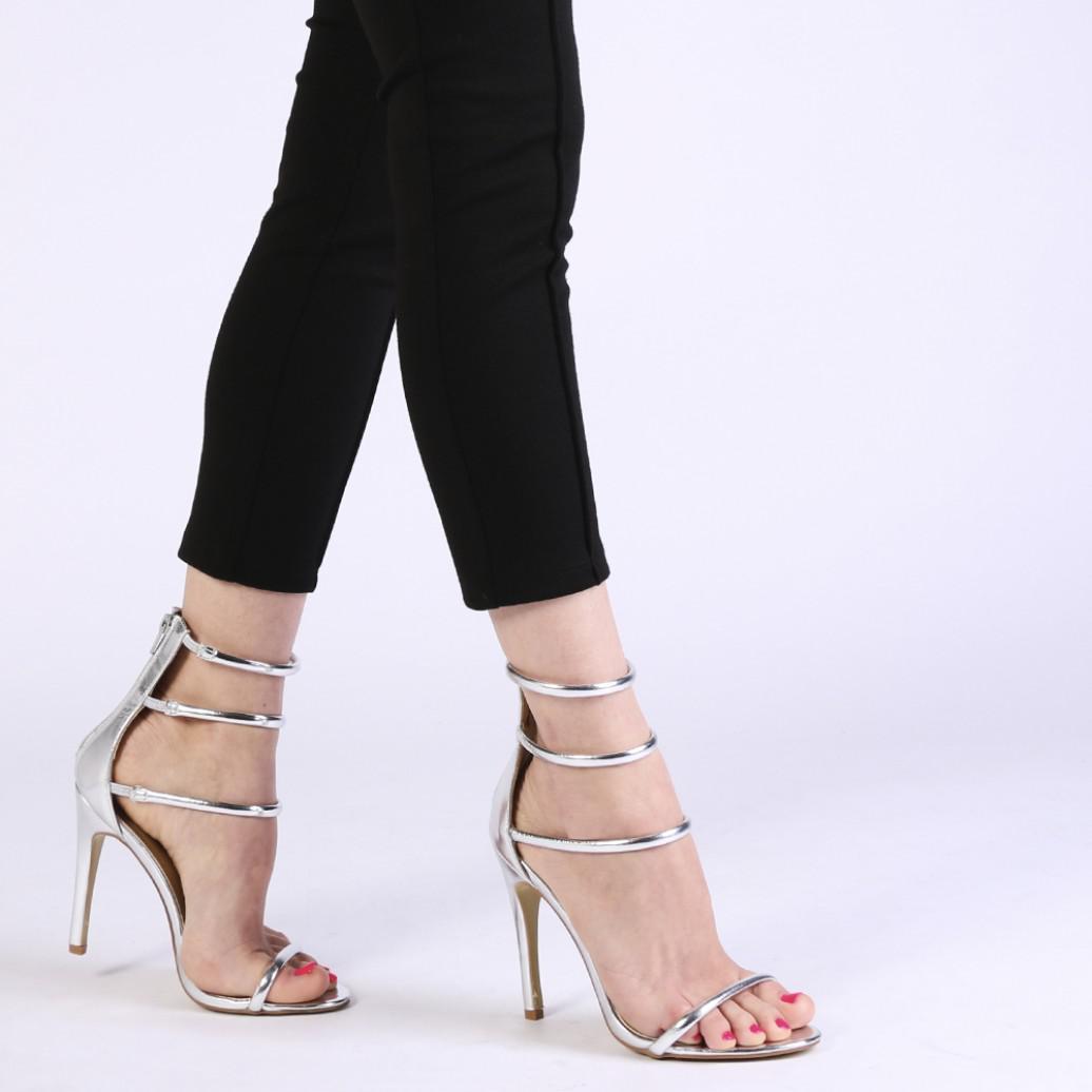 f0b481ea6c553b Lyst - Public Desire Nikki Strappy Stilettos In Silver in Metallic