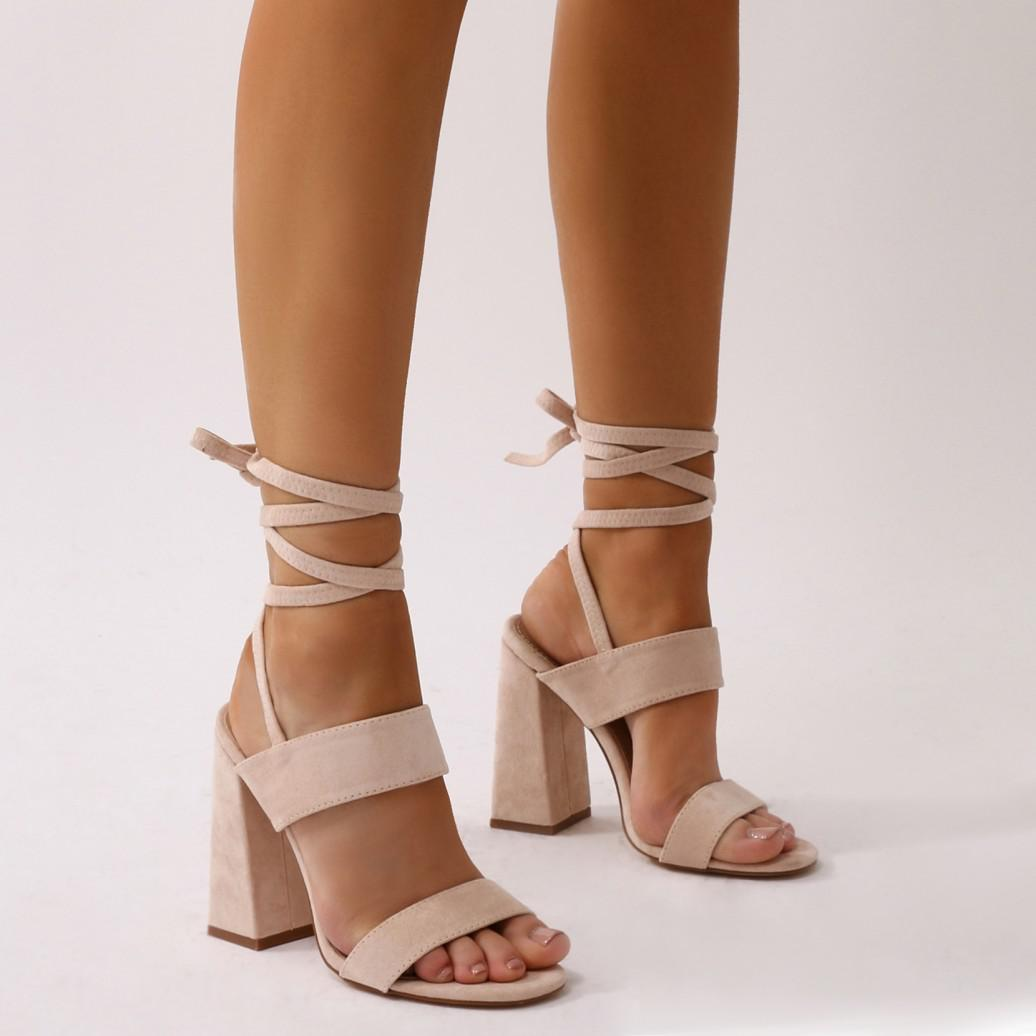 9e4509d39b64 Lyst - Public Desire Bailey Lace Up Block Heels In Nude Faux Suede ...