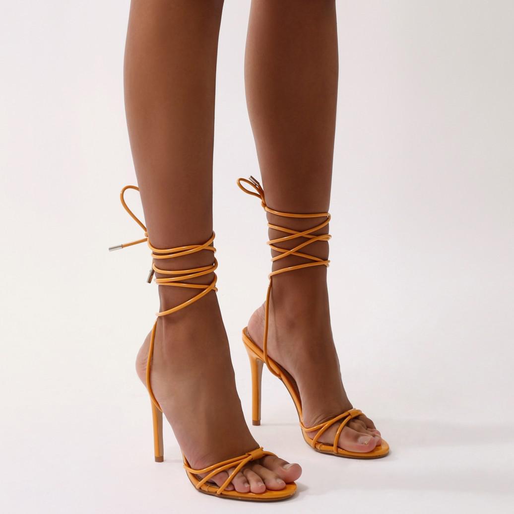 Public Desire Copper Lace Up Heels in Faux Snake wjQ2NU7
