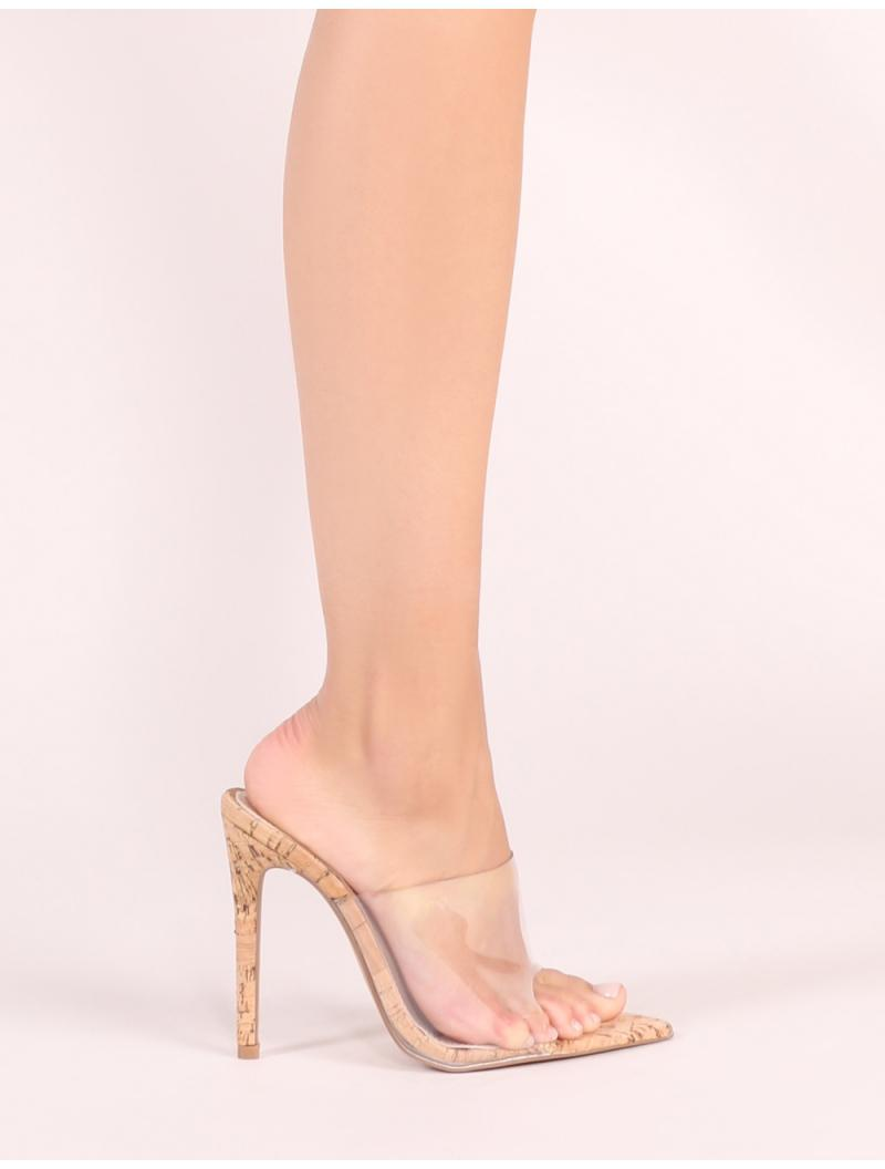 735a6937af2f Lyst - Public Desire Shook Perspex Heel Mules With Cork Heel