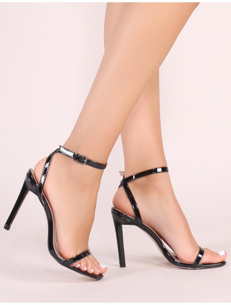 dd3400d2b877 Public Desire Notion Squared Toe Barely There Heels In Black Patent ...