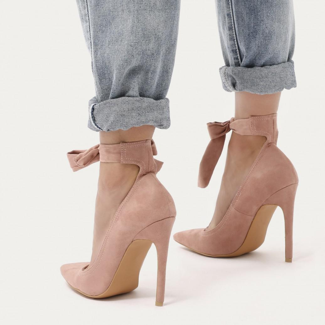 e0c1fa1f0aeb Lyst - Public Desire Muse Lace Up Stiletto Court Heels In Blush Pink ...