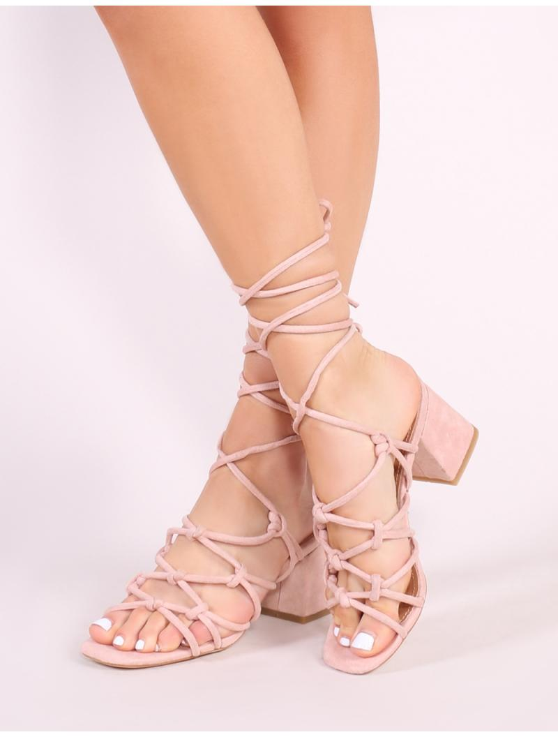 ee873e6000d5 Lyst - Public Desire Freya Knotted Strappy Block Heeled Sandals In Blush  Nude Faux Suede in Blue