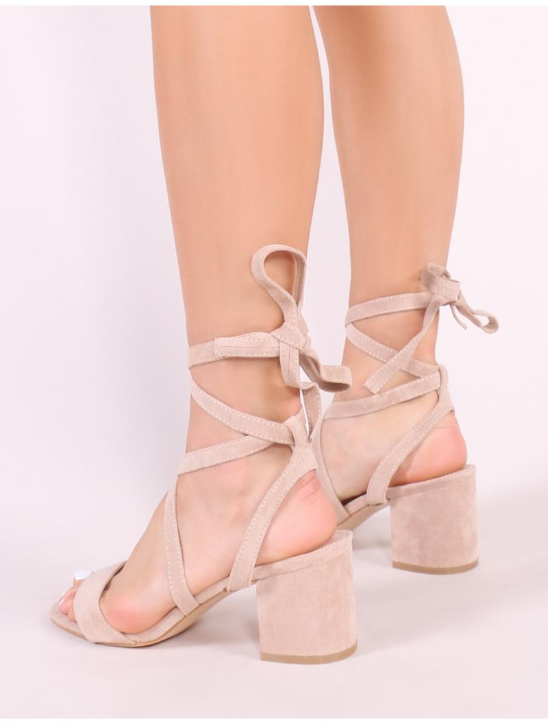 7140fbbd485 Lyst - Public Desire Sophie Heeled Sandals In Nude Faux Suede in Natural