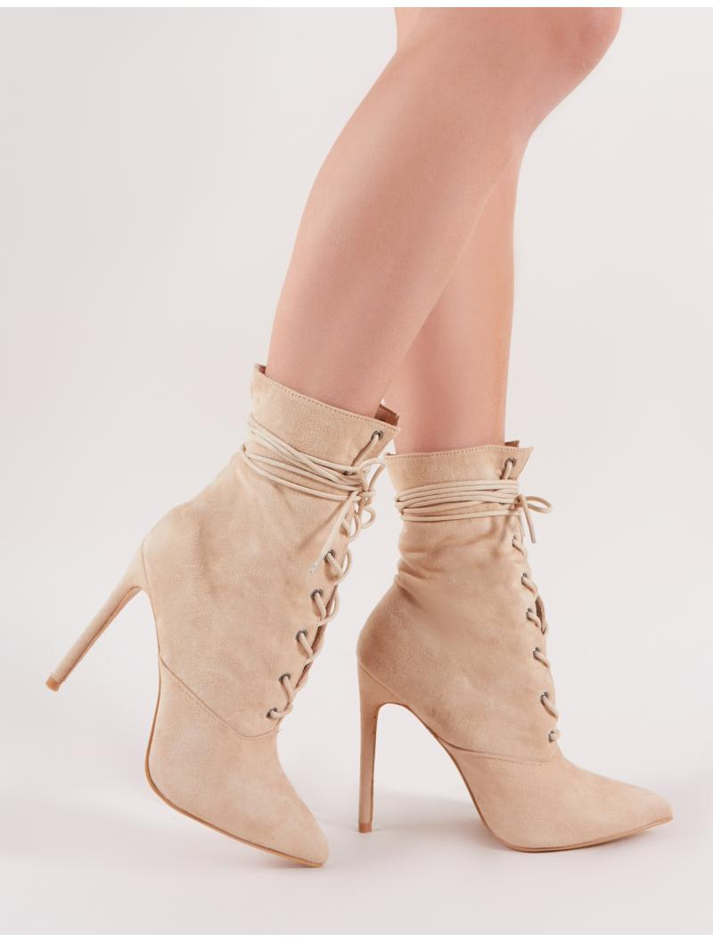 315a19222a1 Lyst - Public Desire Spectrum Lace Up Ankle Boots In Nude Faux Suede ...
