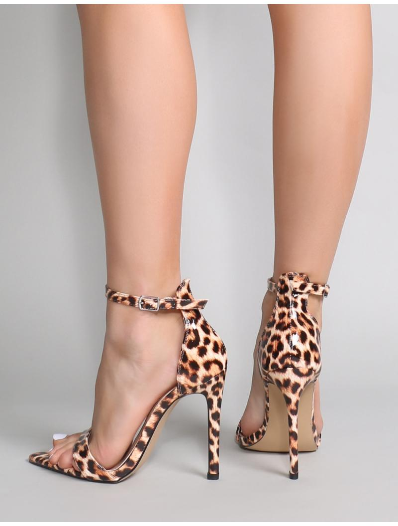 a32f30e0740 Public Desire Ace Pointed Barely There Heels In Leopard Patent - Lyst