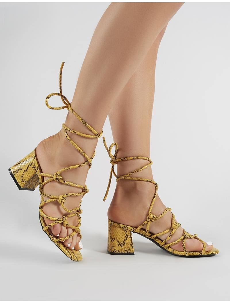 93959992e33 Lyst - Public Desire Freya Knotted Strappy Block Heeled Sandals In ...
