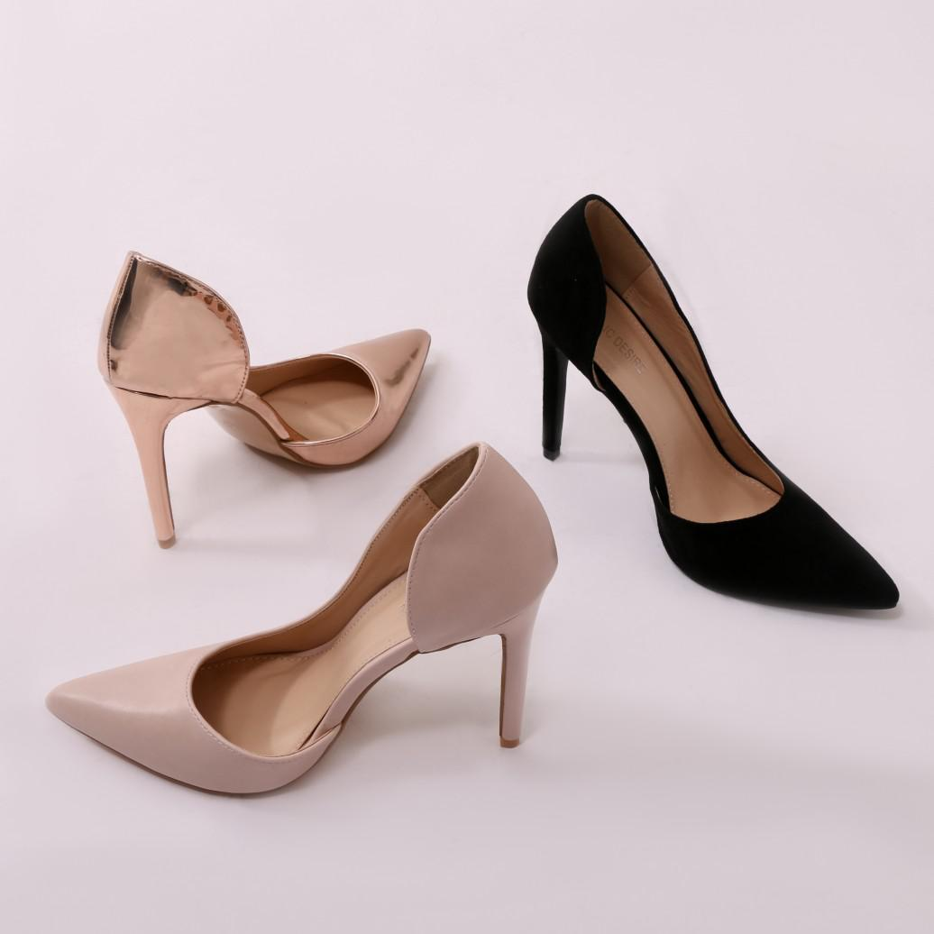 Public Desire Tipsy Cut Out Court Heels in Rose MA7O1