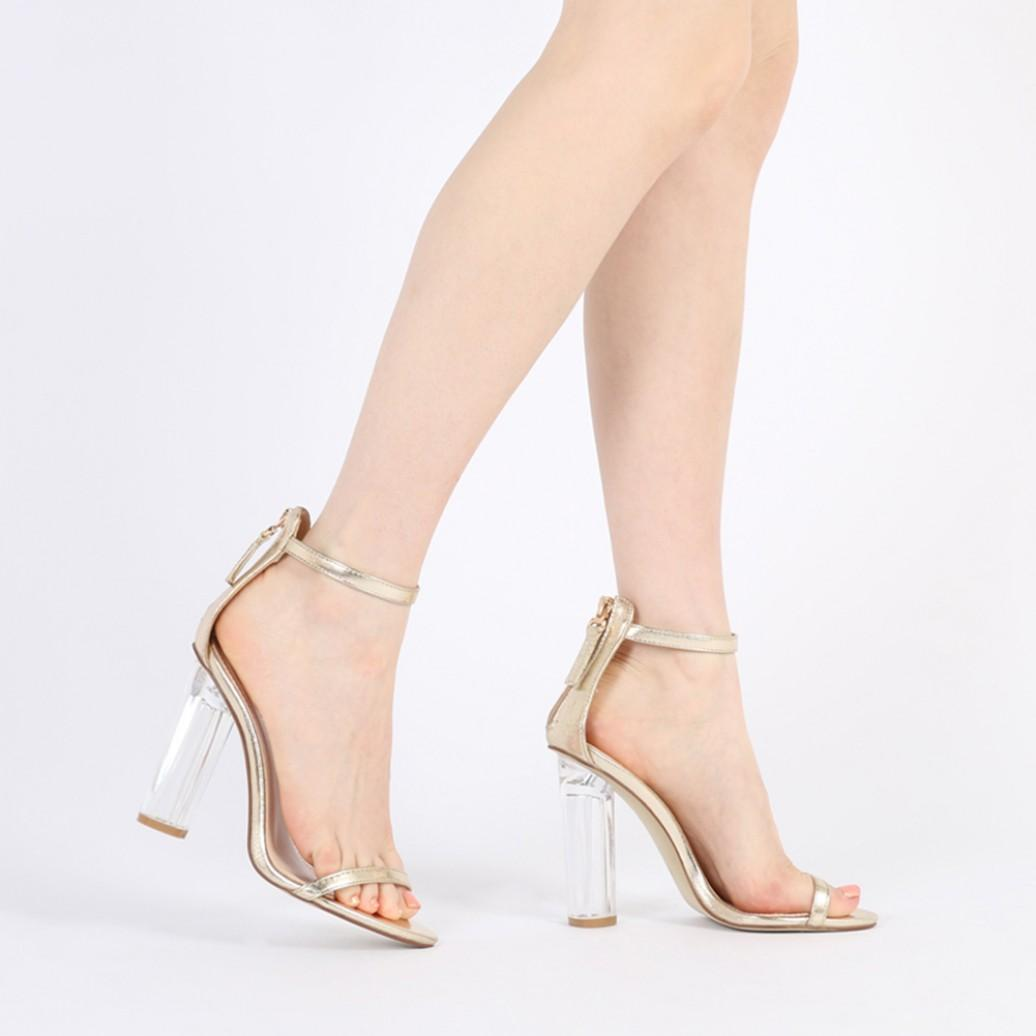 ff37d7c60c5 New Womens Buckle Fastening Cut Out Perspex Block Heel in Nude Faux Suede  UK 3-8