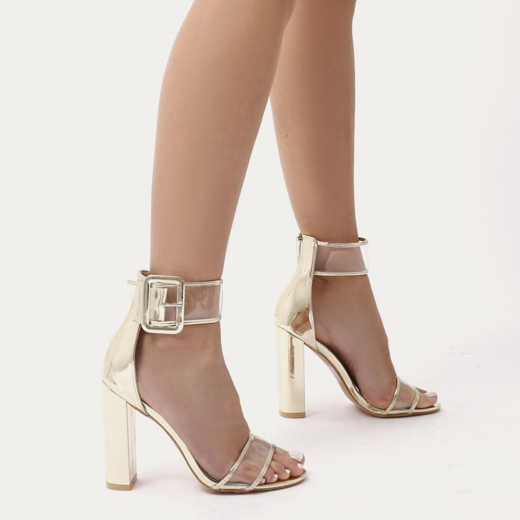 Public Desire Tonic Buckled Clear Perspex Heels in Patent 88Oa9