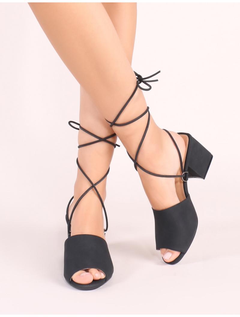 f6f37c371a12 Lyst - Public Desire Paddington Lace Up Block Heeled Mules In Black in Black