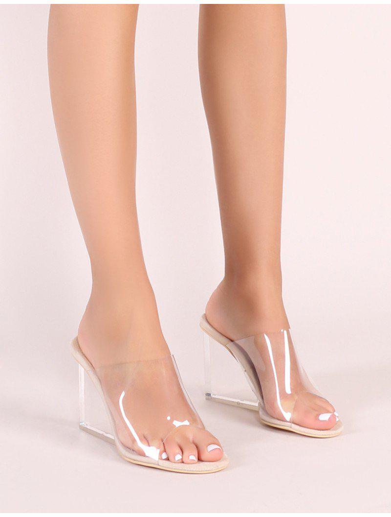 Lyst - Public Desire Maliboo Clear Perspex Mule With Wedge Heel