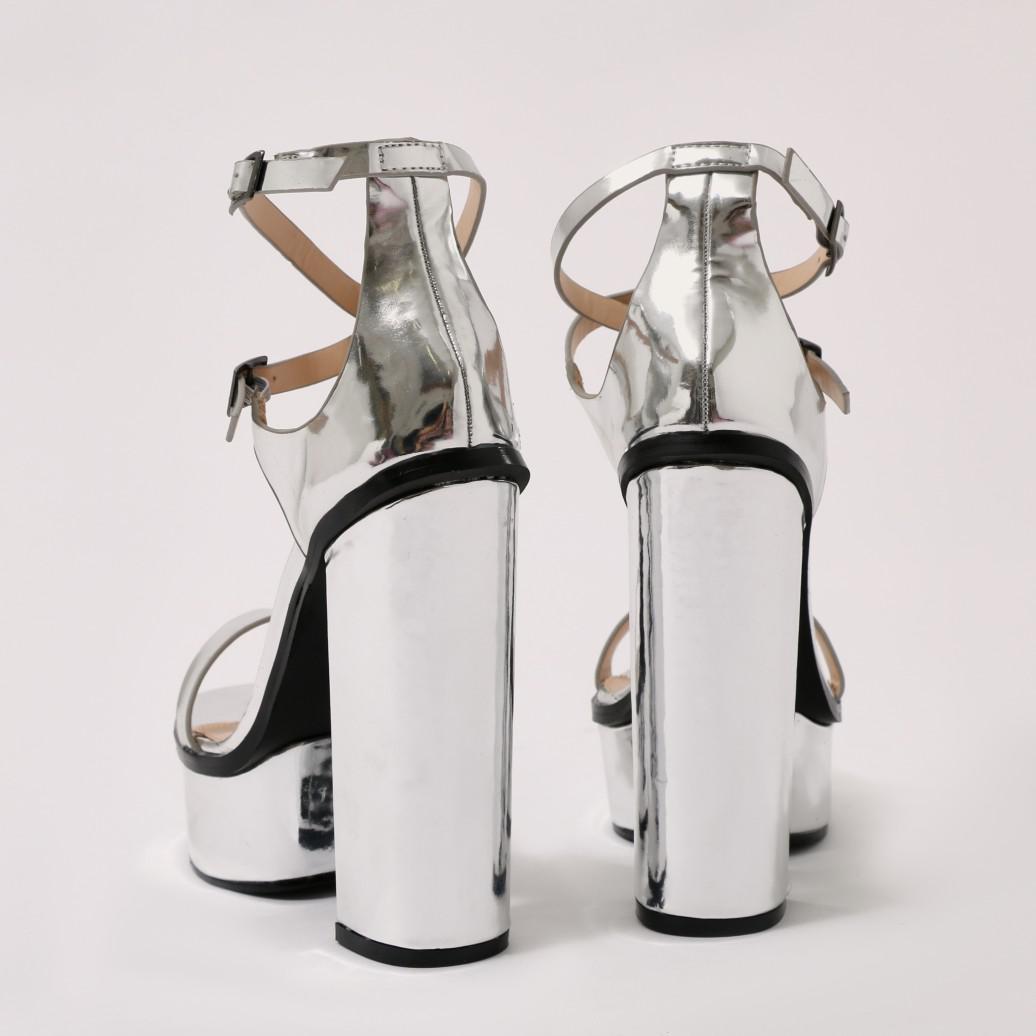 aa577c1537da Lyst - Public Desire Louisiana Metallic Platform Heels With Trim In ...