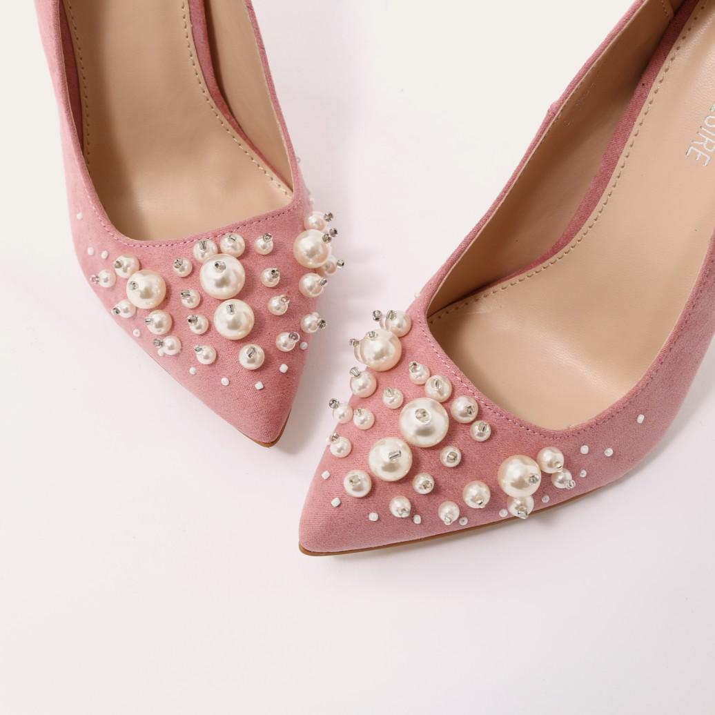 68c55693777d Lyst - Public Desire Mayfair Pearl Pointed Toe Stiletto Heels In ...