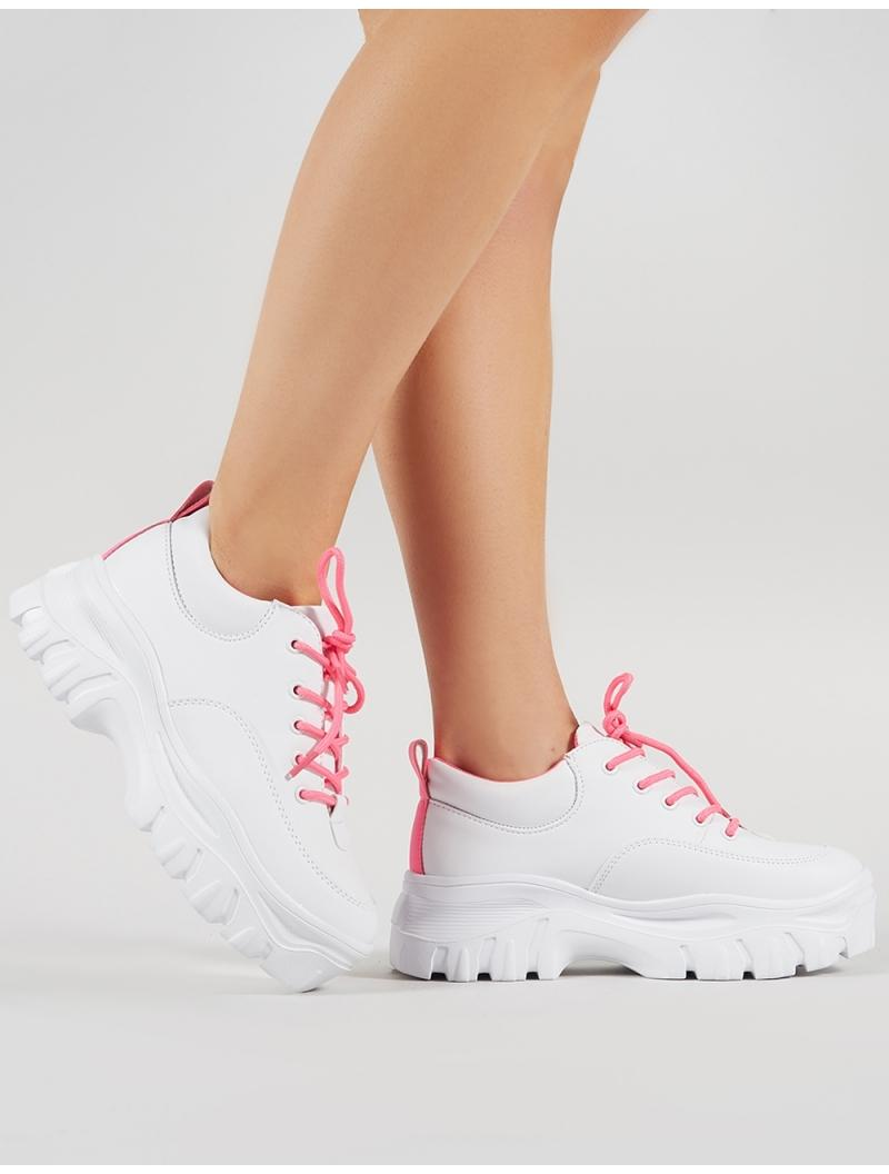 4b2211f0831e Lyst - Public Desire Rylee Chunky Trainers In White And Neon Pink in ...