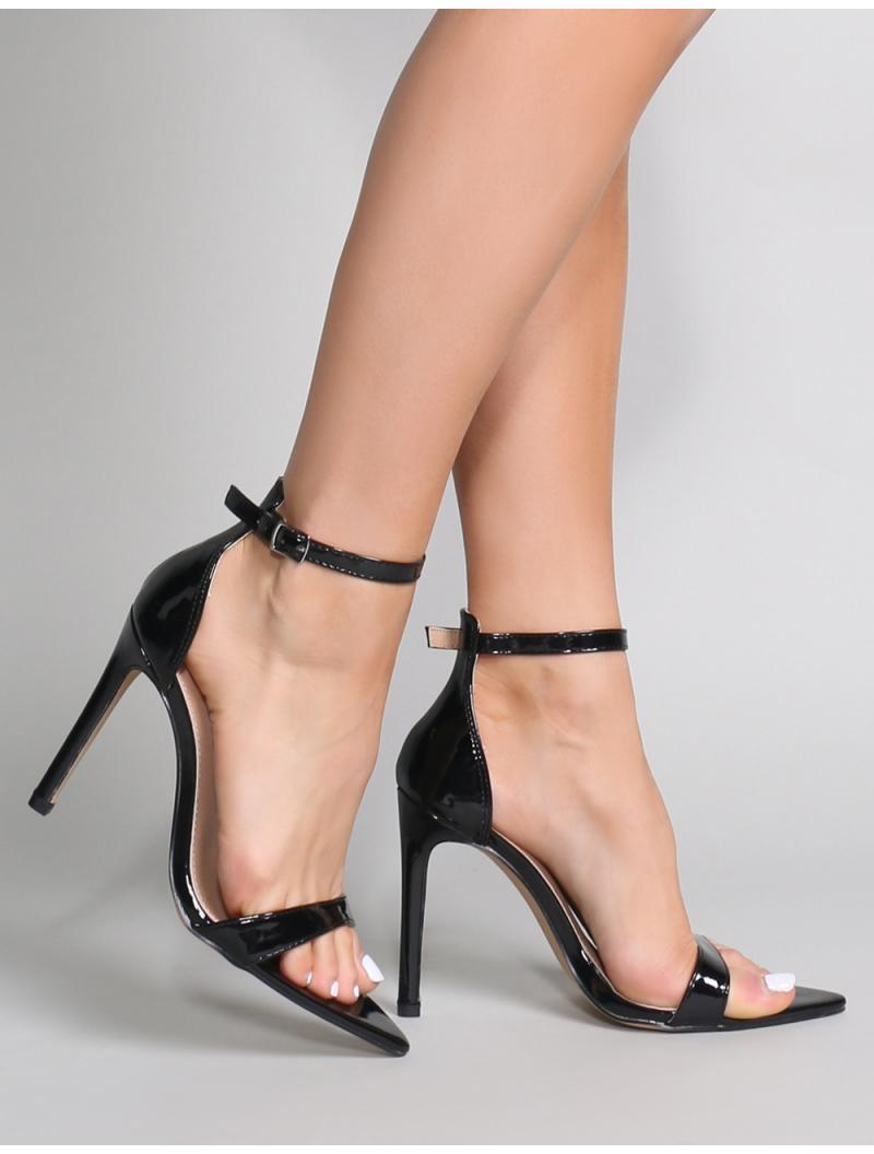 2e82e5d6e494 Lyst - Public Desire Ace Pointed Barely There Heels In Black Patent ...