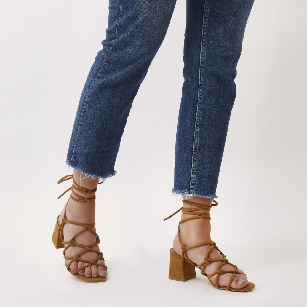 e0fbb6254aa1 Public Desire Freya Knotted Strappy Block Heeled Sandals In Tan Faux ...