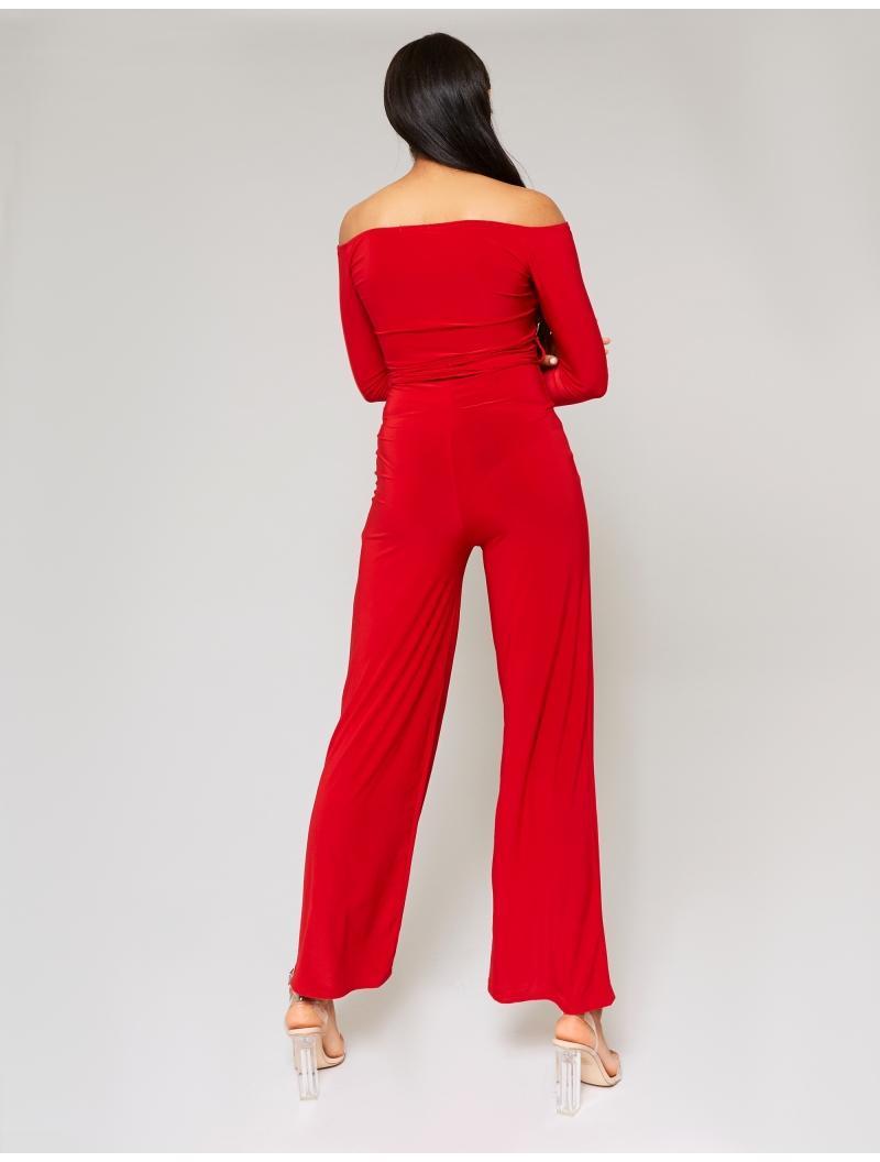 99ce4499f6 Public Desire Red Slinky Bardot Wide Leg Jumpsuit in Red - Lyst