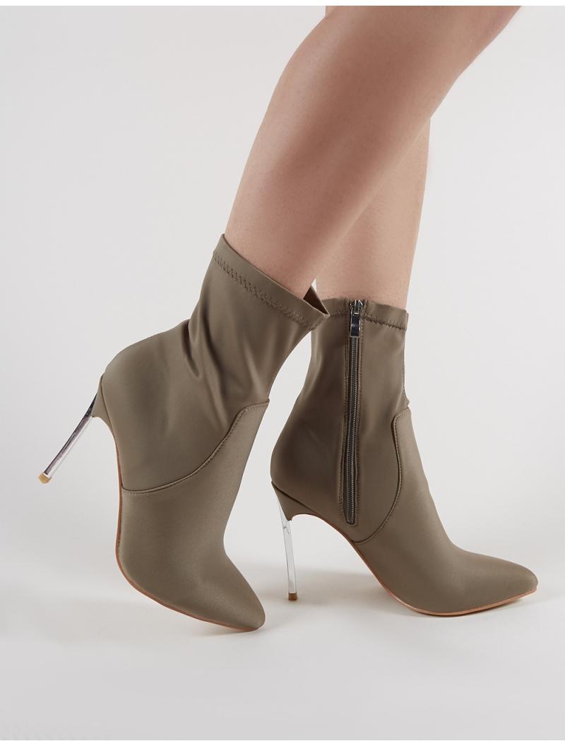 3d6d9dd53d3 Lyst - Public Desire Haze Metallic Heeled Pointy Ankle Boots In ...