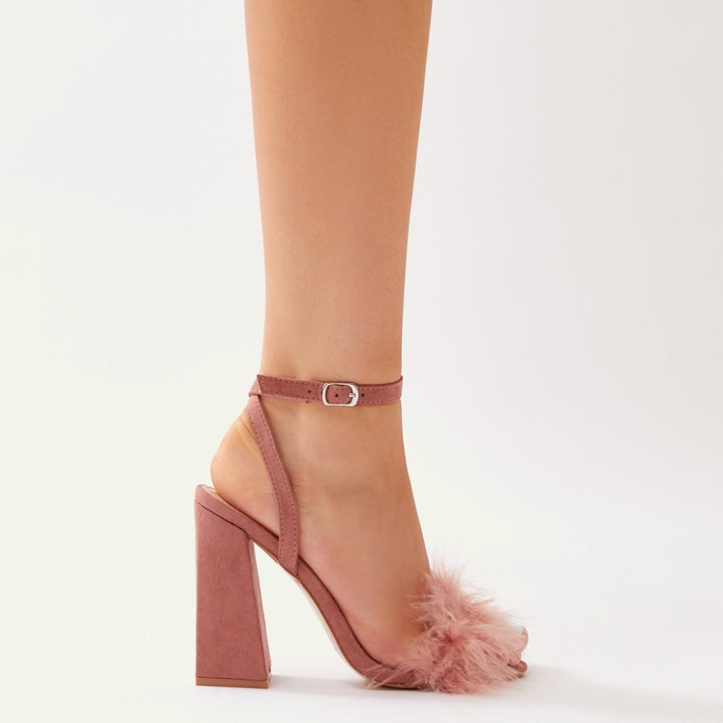 c51e2097713 Lyst - Public Desire Mimi Feather Block Heels In Blush Pink Faux ...