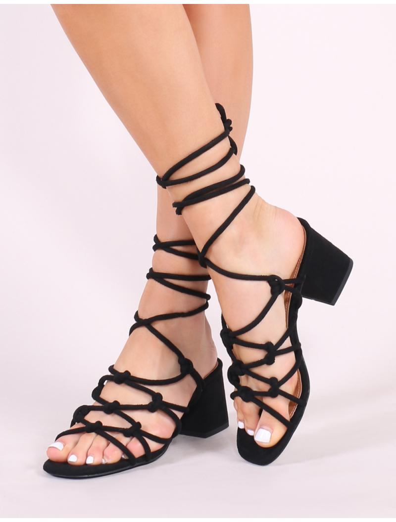 00faf192c80 Public Desire Freya Knotted Strappy Block Heeled Sandals In Black Faux  Suede in Black - Lyst